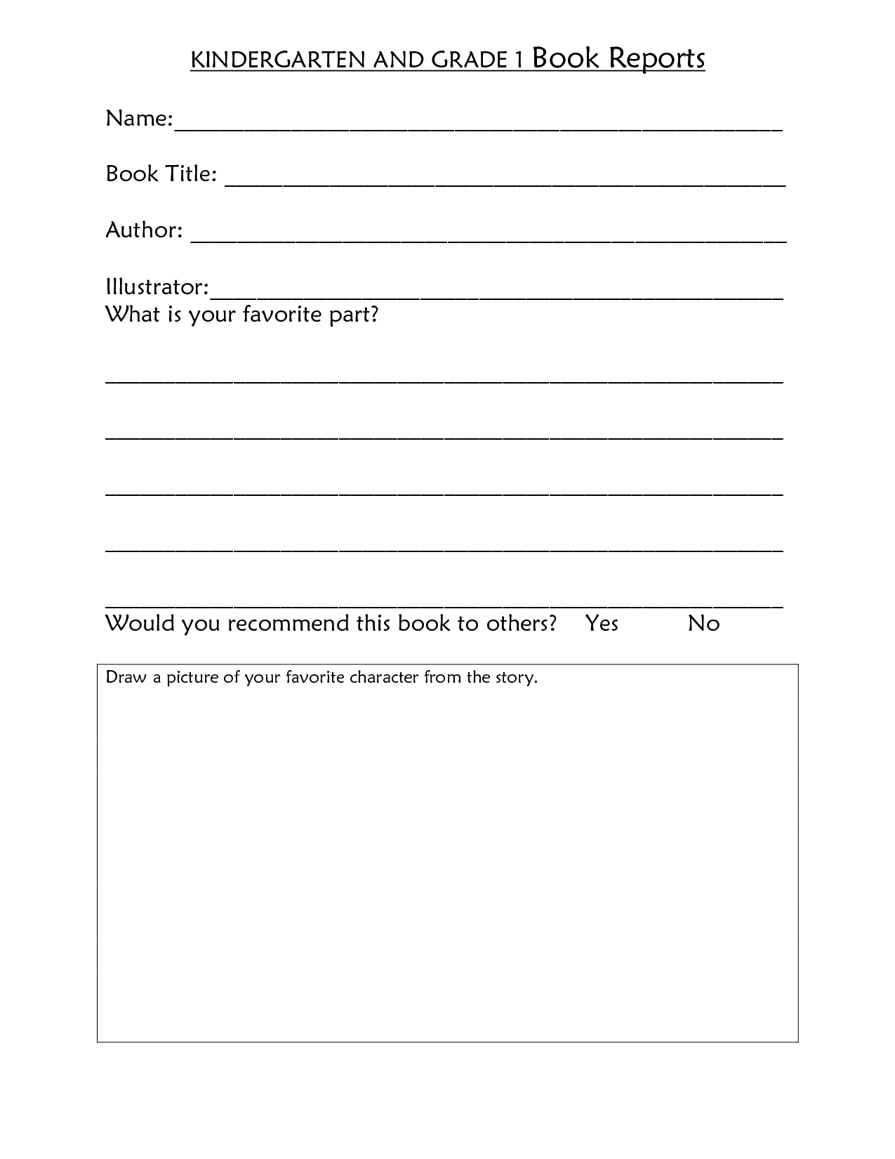 18 Best Images Of Kindergarten Book Report Worksheet