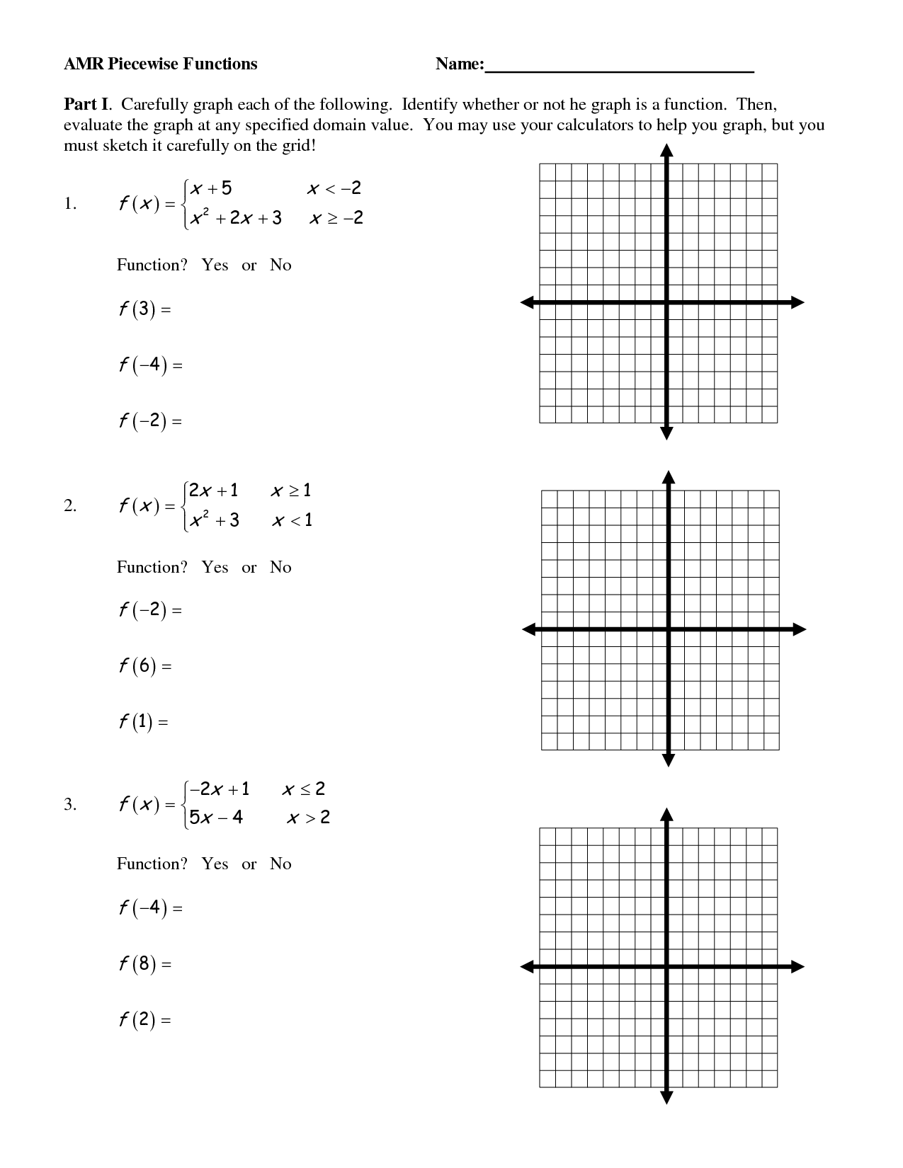 Piecewise Functions Worksheet Alg 1