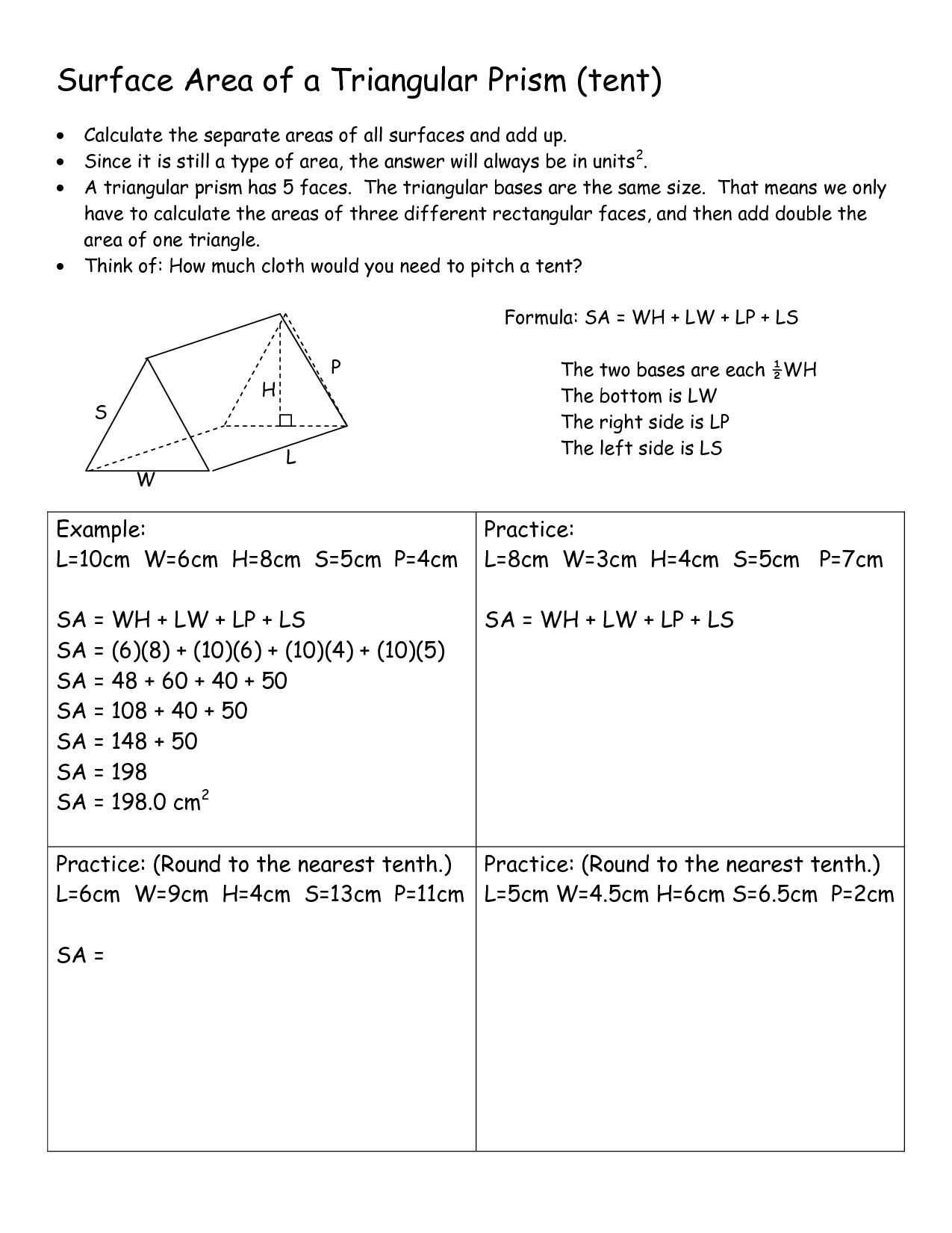 10 Best Images Of Triangular Prism Surface Area Worksheet