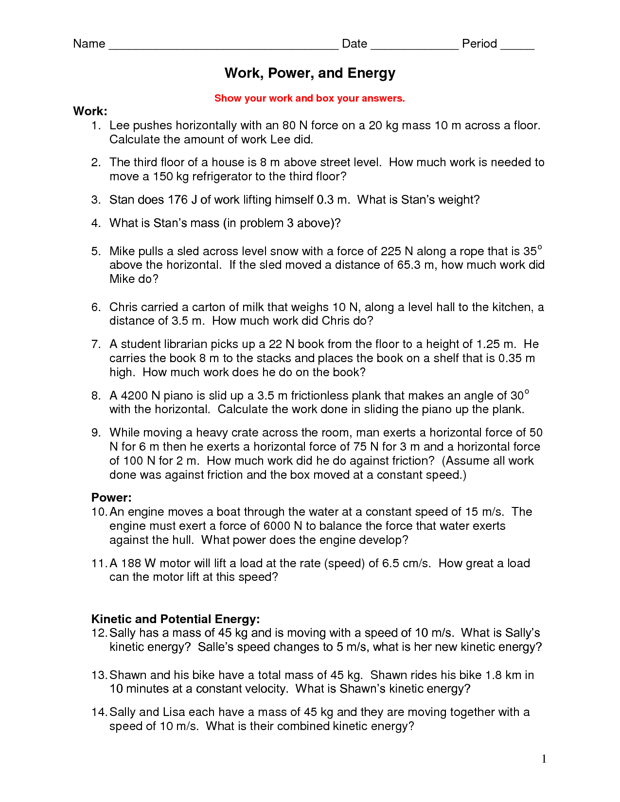 10 Best Images Of Work Energy And Power Worksheet
