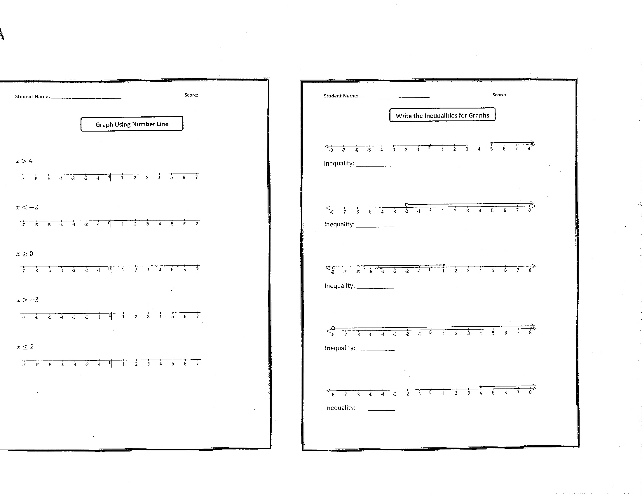 Grade 6 Inequalities Worksheet
