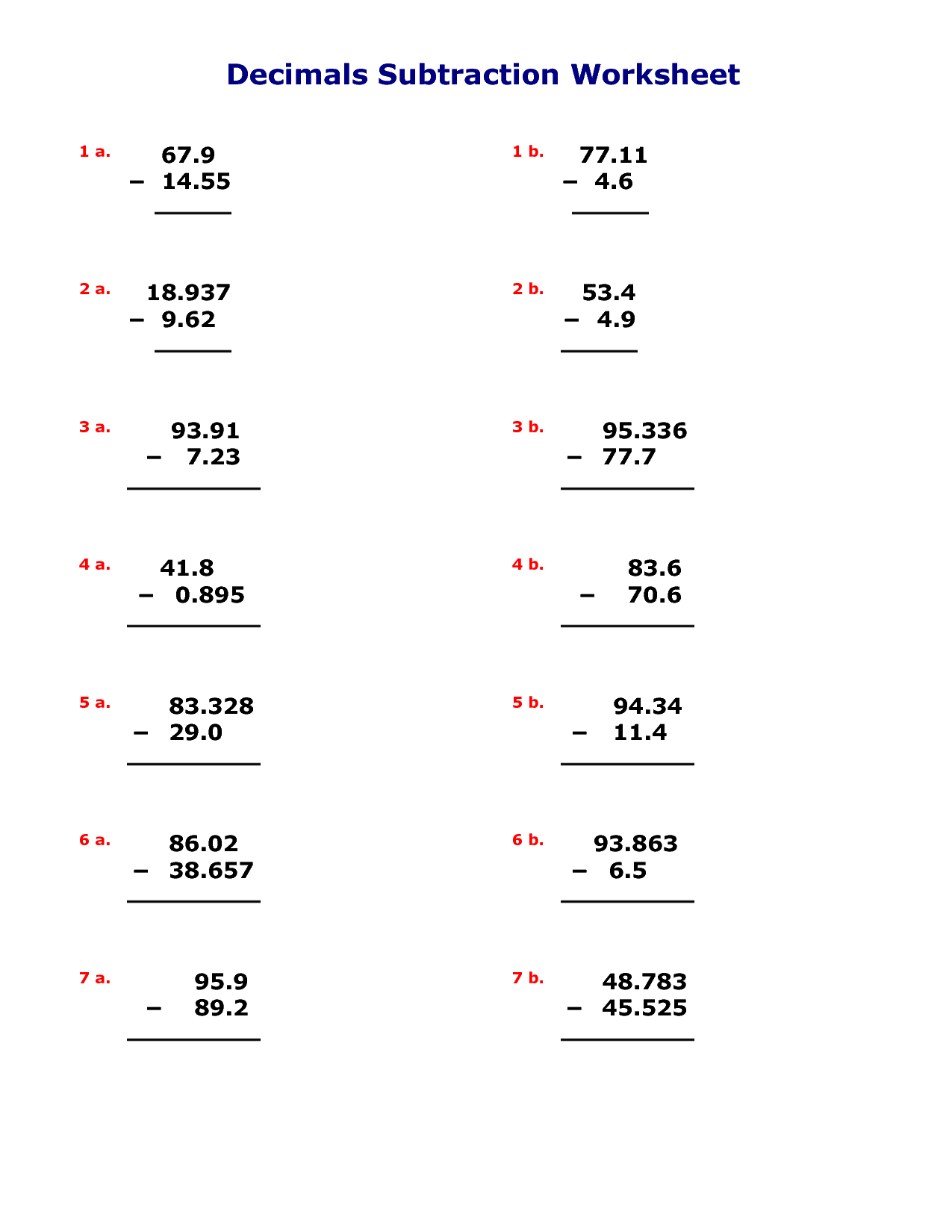9 Best Images Of Adding And Subtracting Decimals