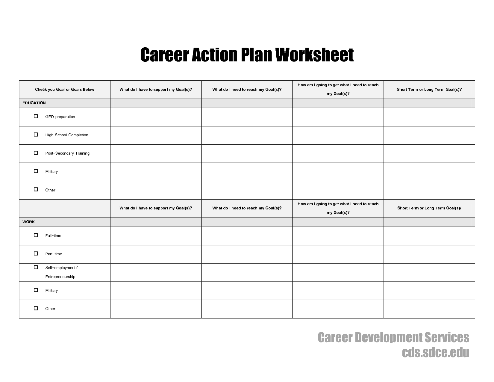 Creating A Life Plan Worksheet