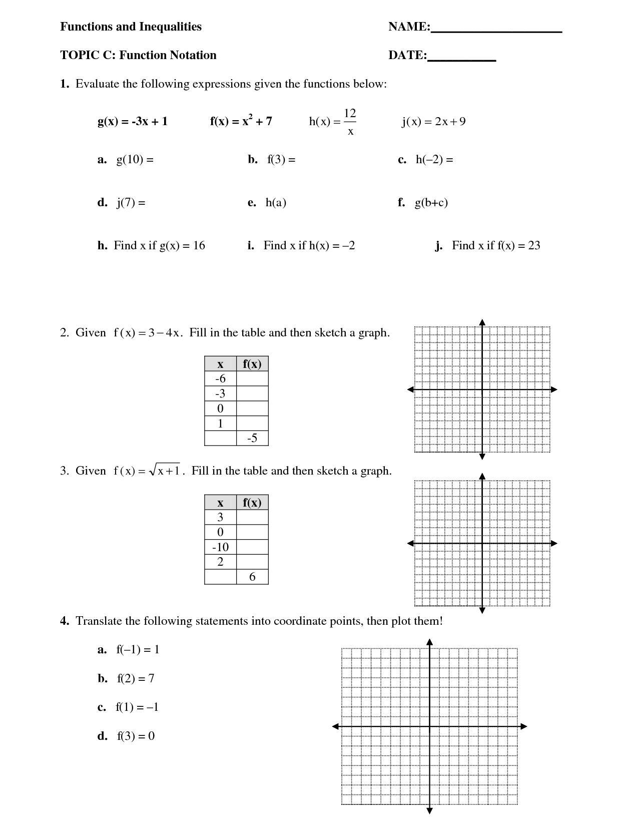 15 Best Images Of Evaluating Functions Worksheet Algebra 1