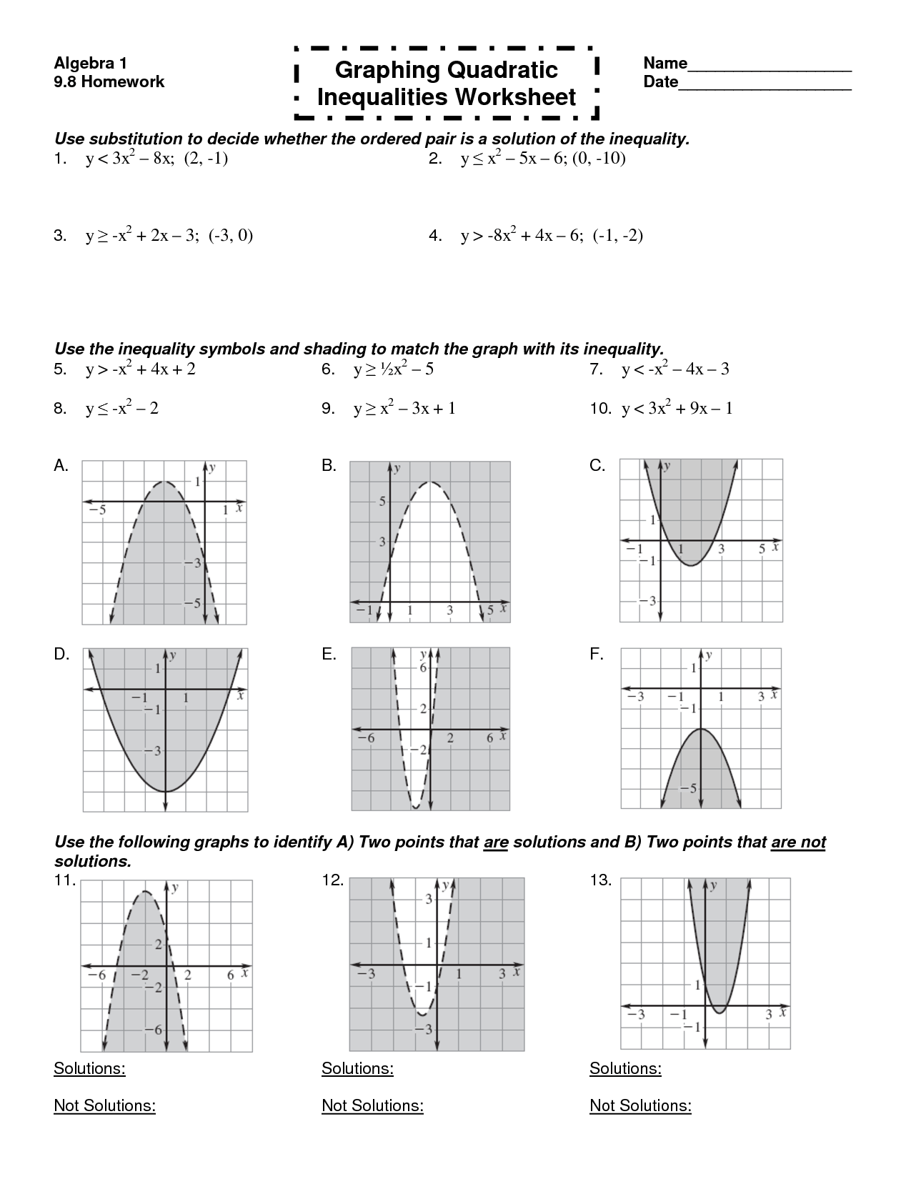Inequality Functions Worksheet