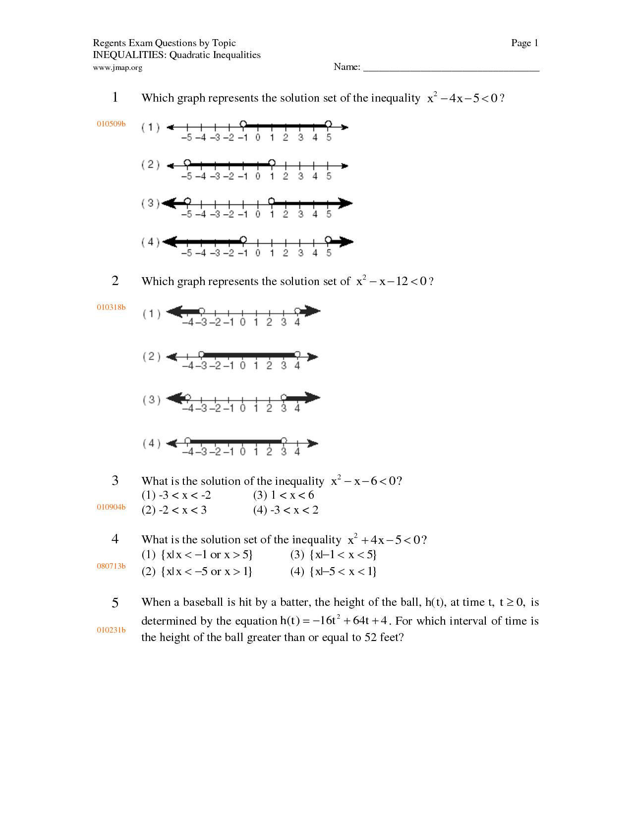 10 Best Images Of Quadratic Inequality Worksheet