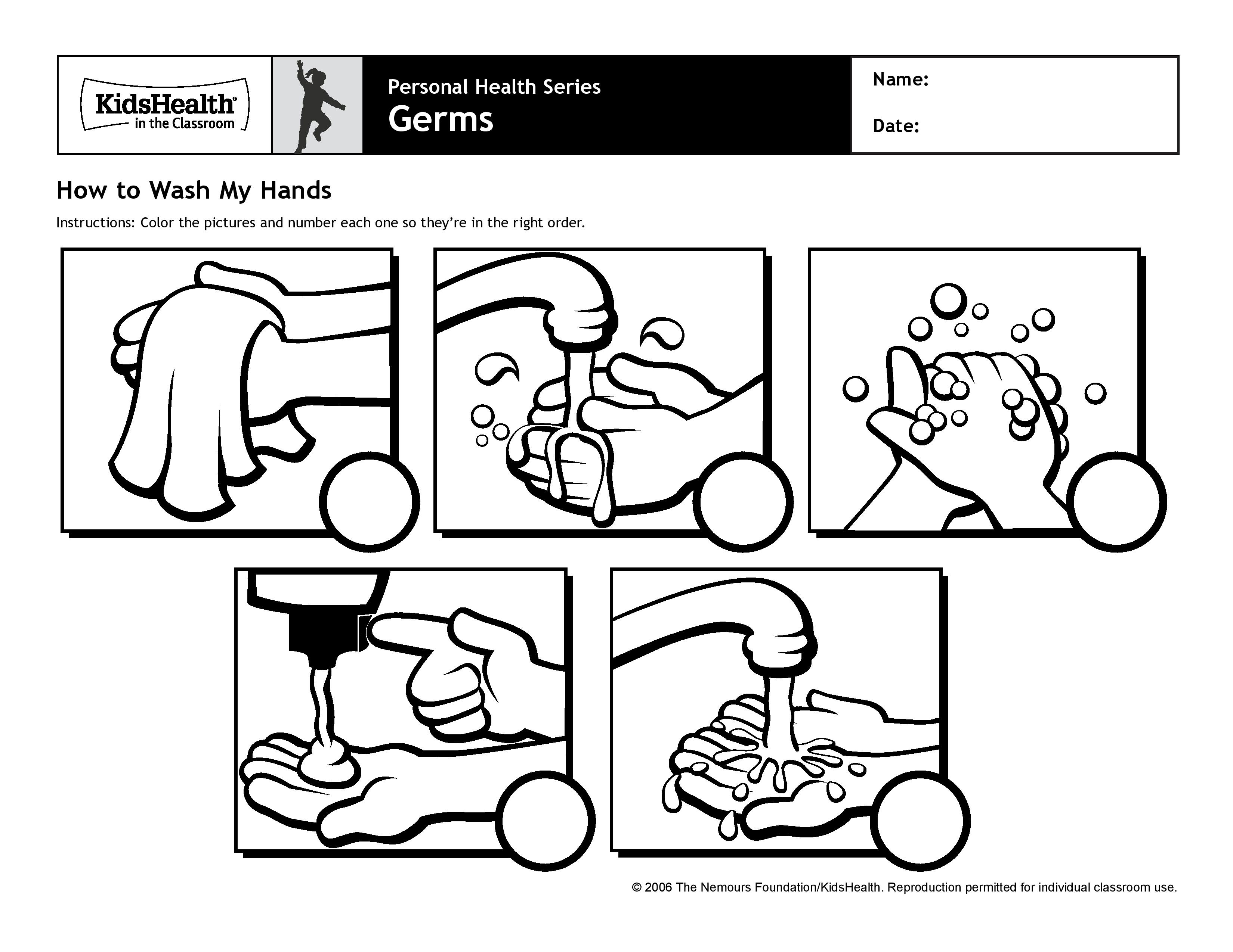 Worksheet Hand Washing And Germs