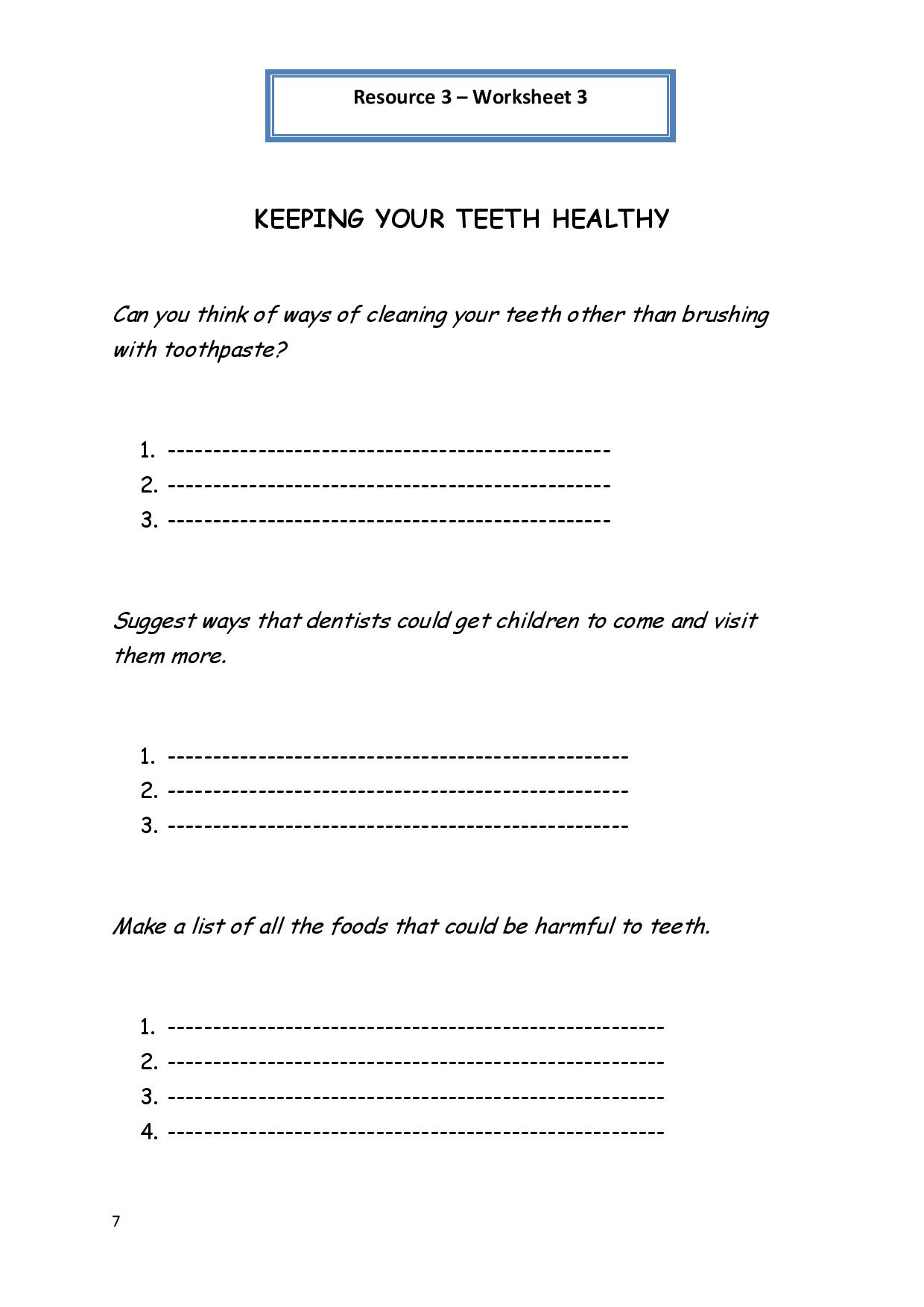9 Best Images Of Healthy Teeth Worksheets