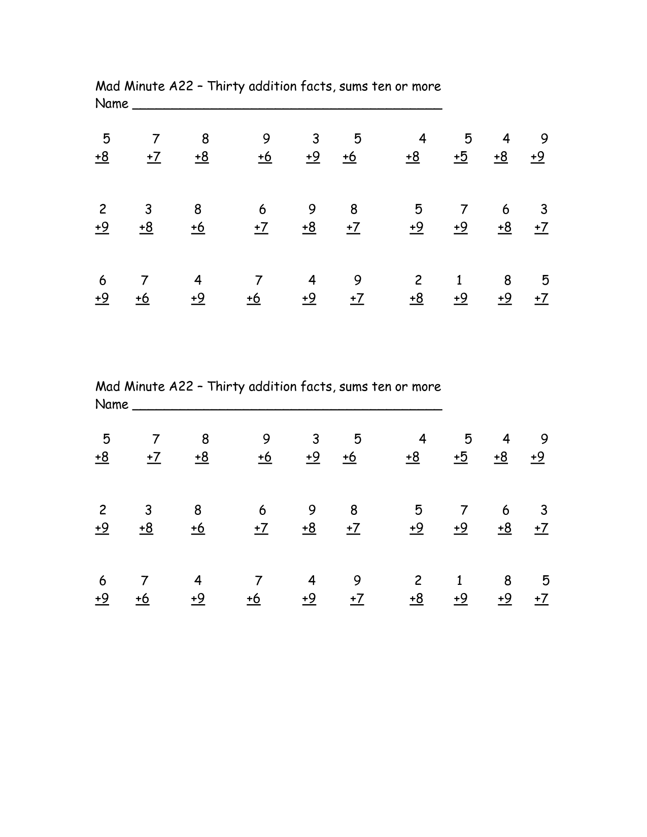 Mad Minute Addition Subtraction Worksheets
