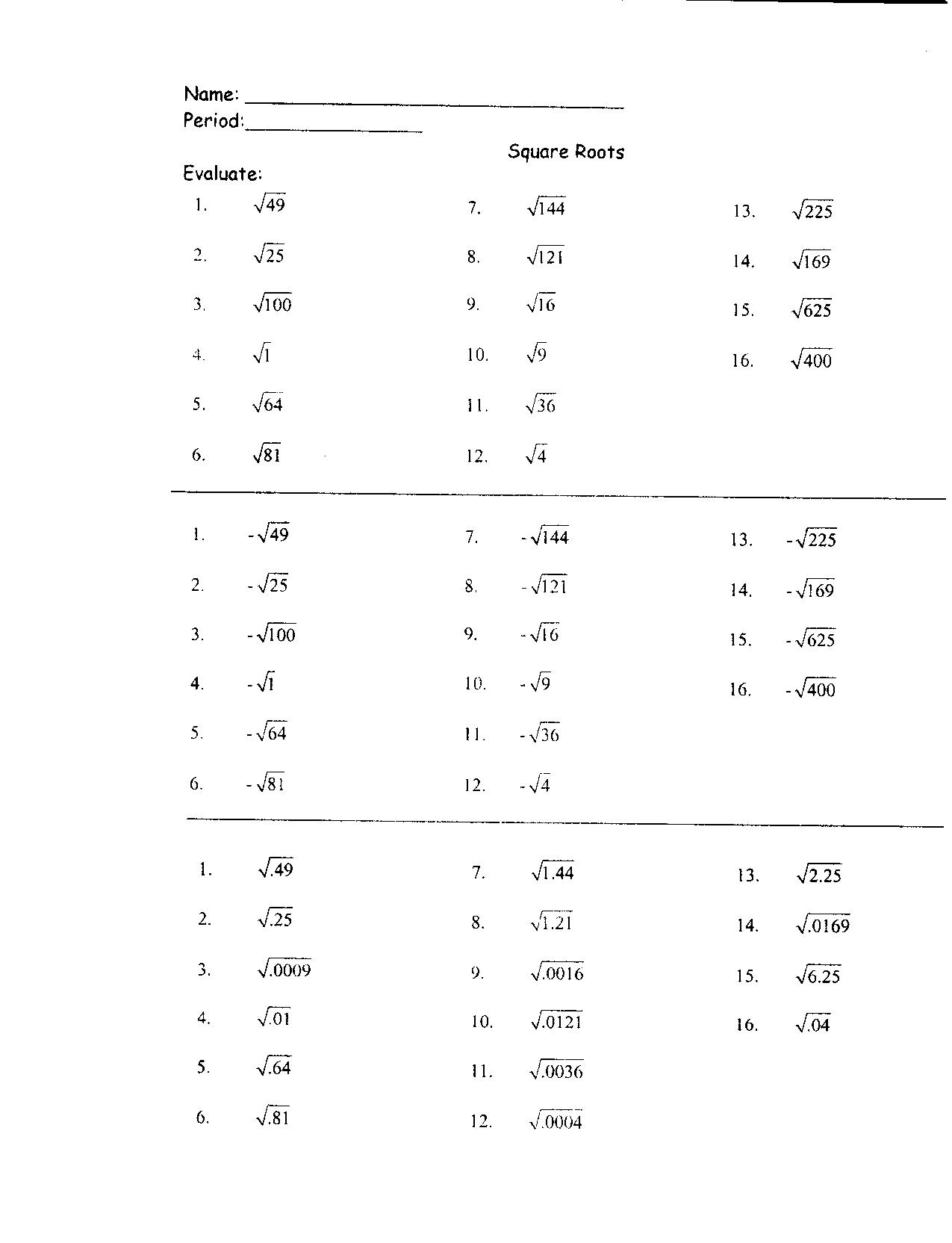 11 Best Images Of Non Perfect Squares Worksheet