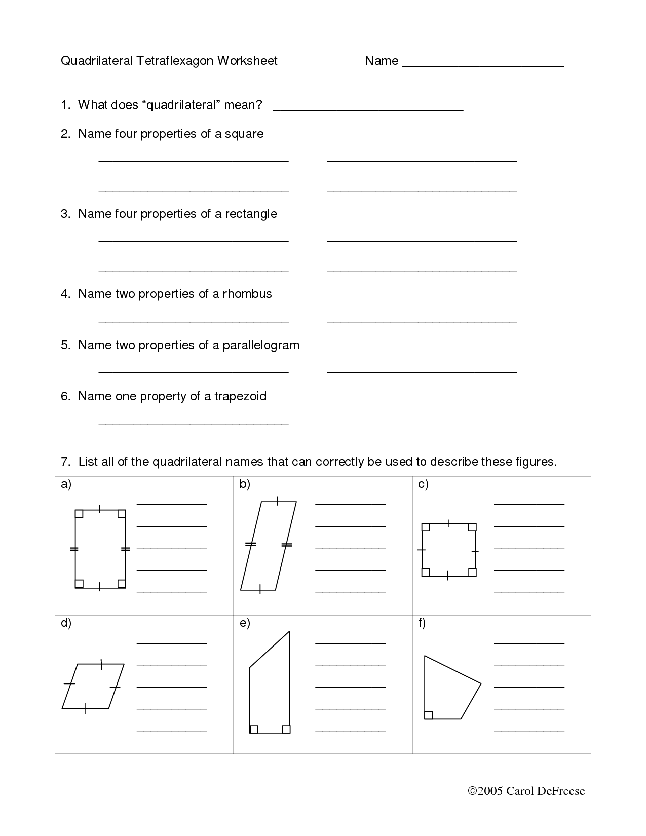 Quadrilateral Sort Worksheet