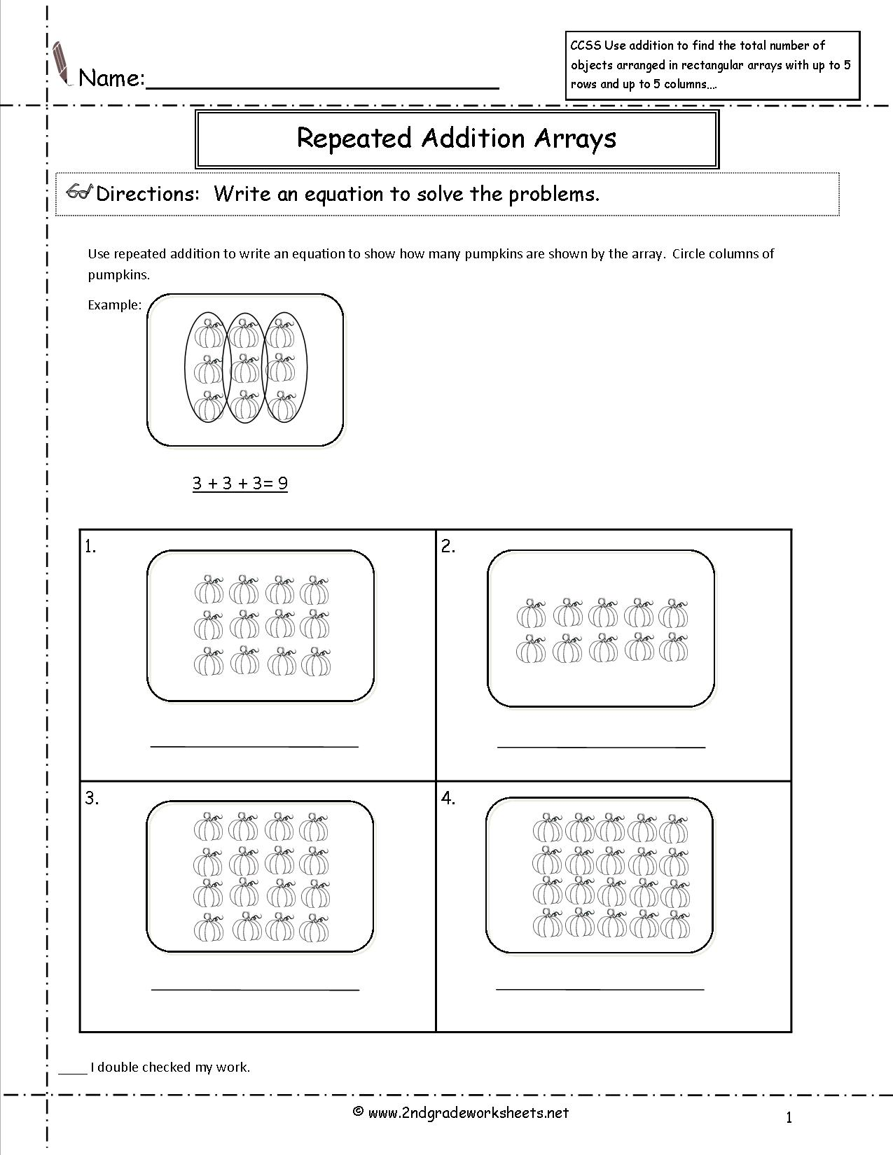16 Best Images Of 2nd Grade Arrays Repeated Addition