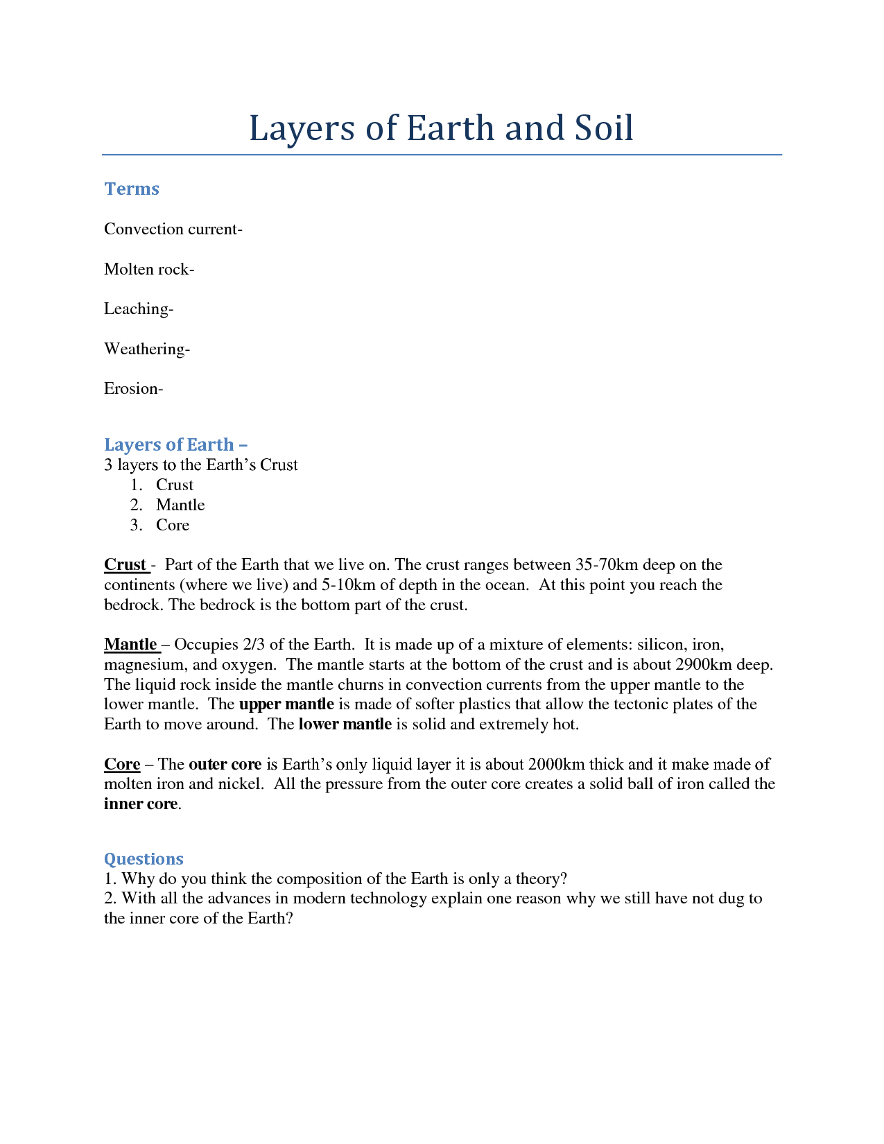 14 Best Images Of Earth S Layers Worksheet