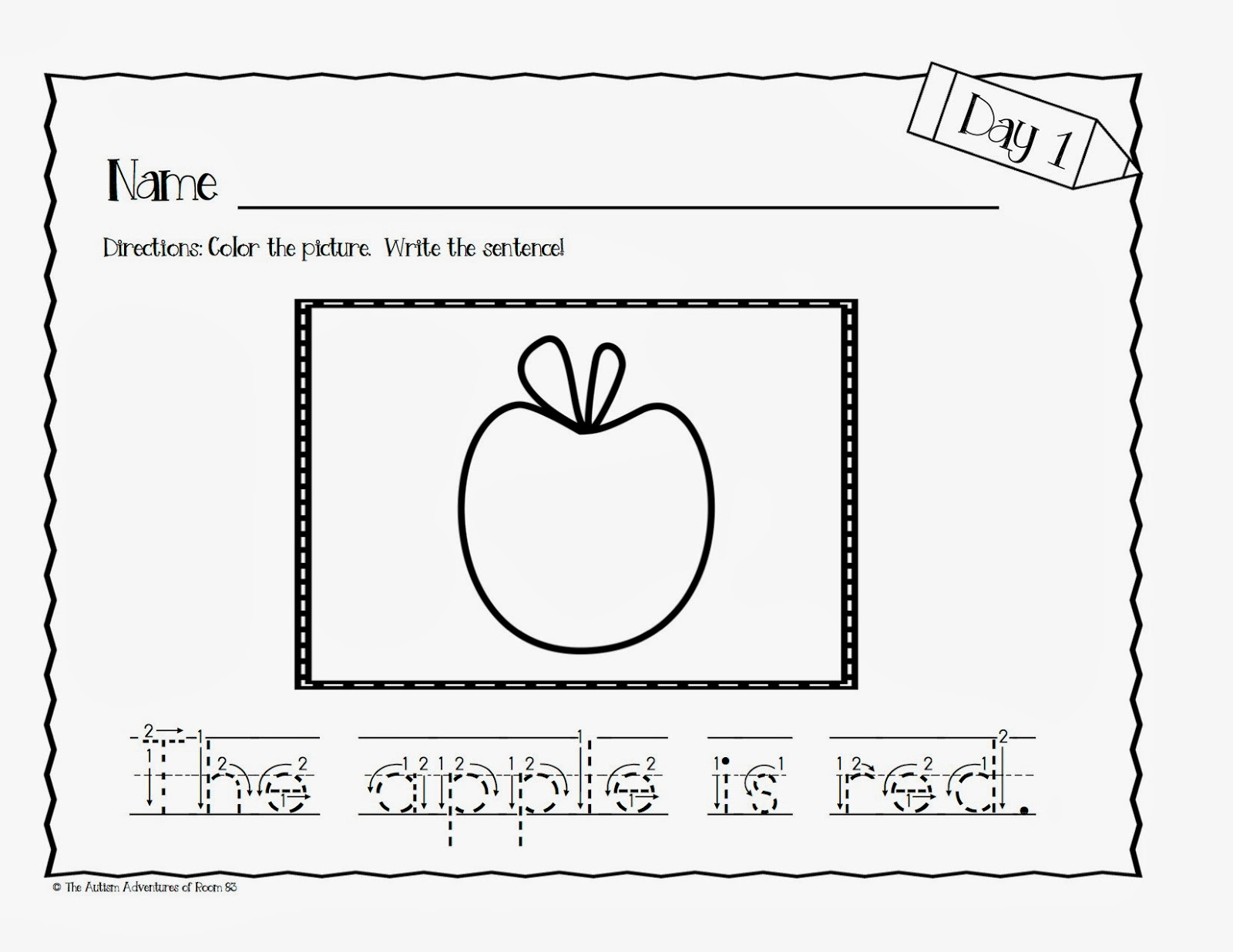 14 Best Images Of Sentence Tracing Worksheets Kindergarten