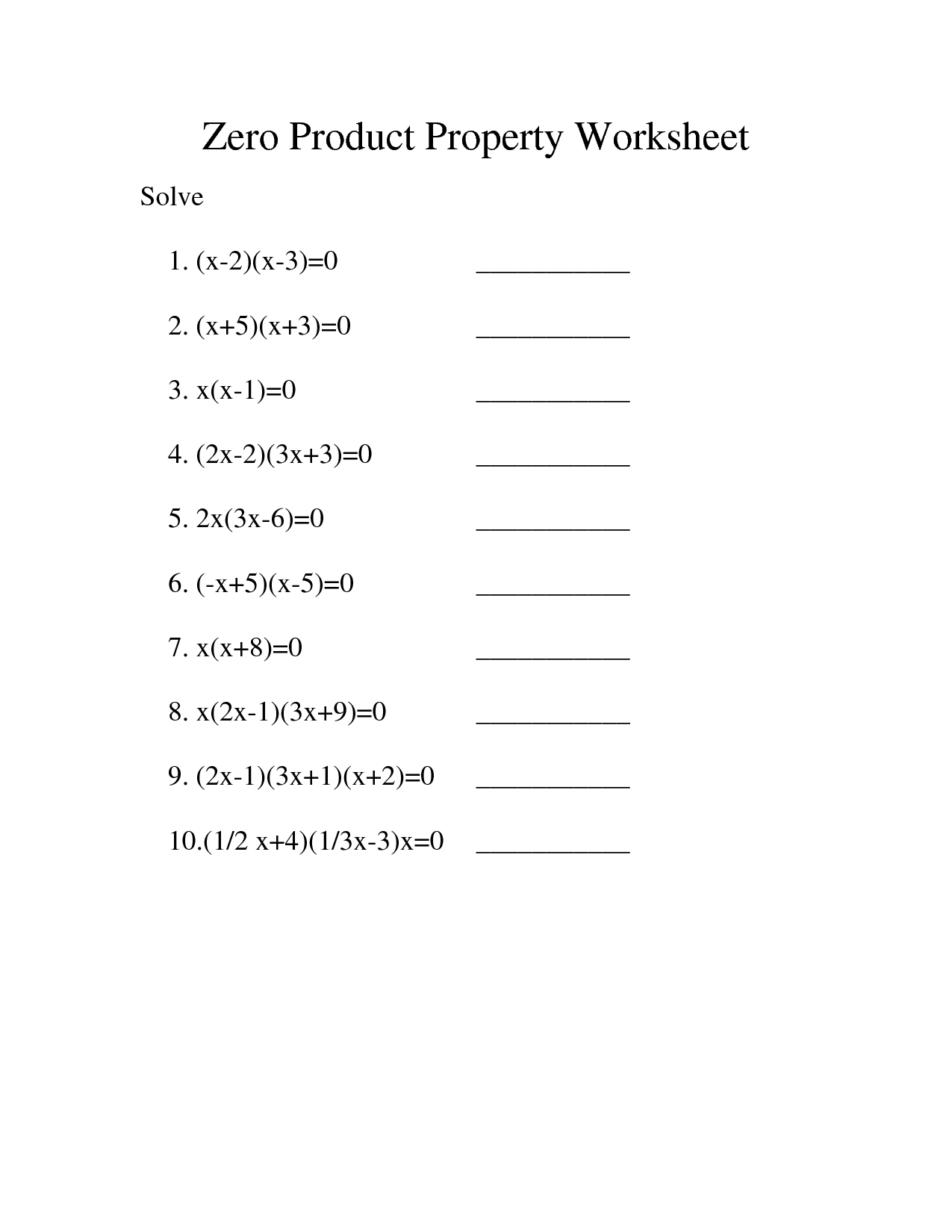 15 Best Images Of Solve By Factoring Worksheet