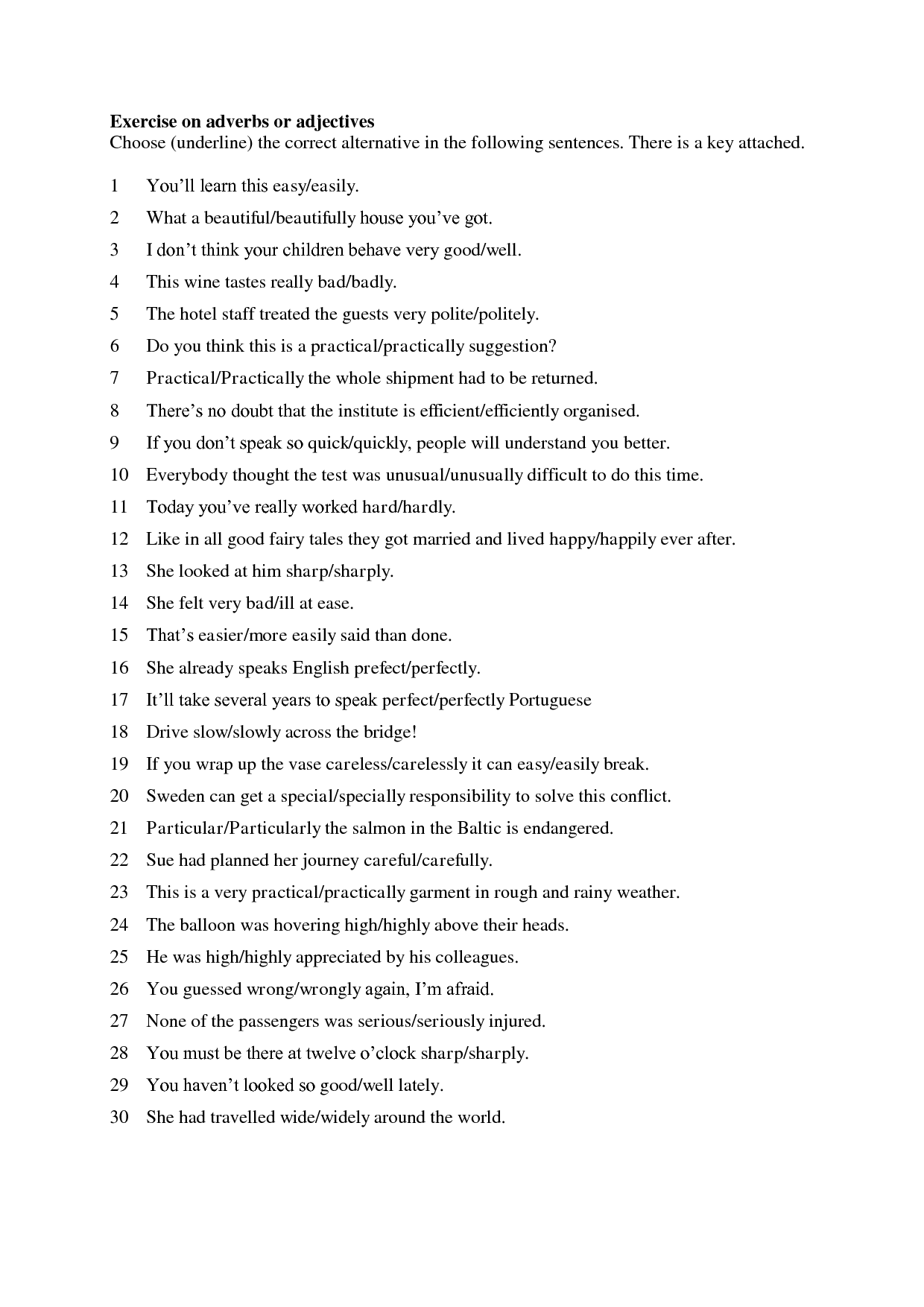 Adverb Worksheet Middle School