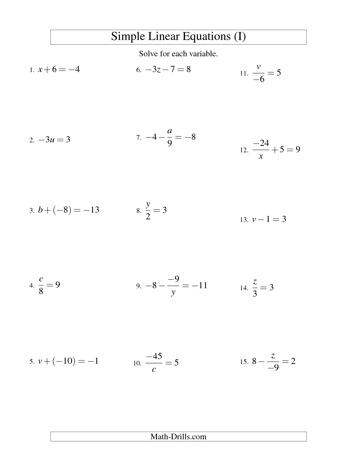 13 Best Images Of Linear Equations Worksheets