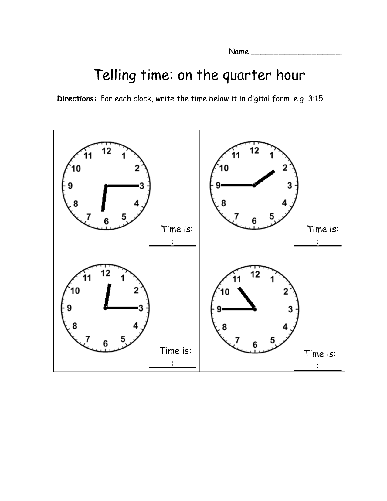 Worksheet Time To The Quarter Hour