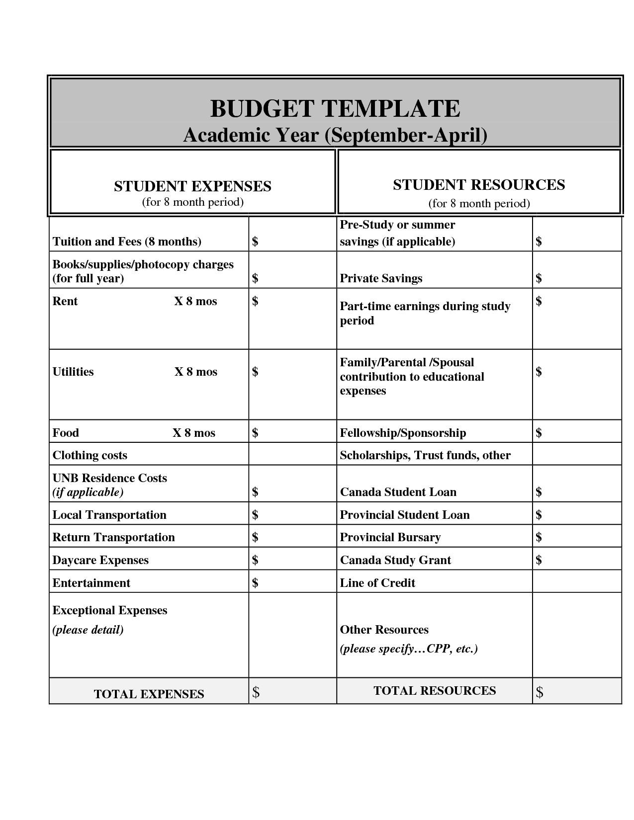 10 Best Images Of Family Reunion Budget Worksheets