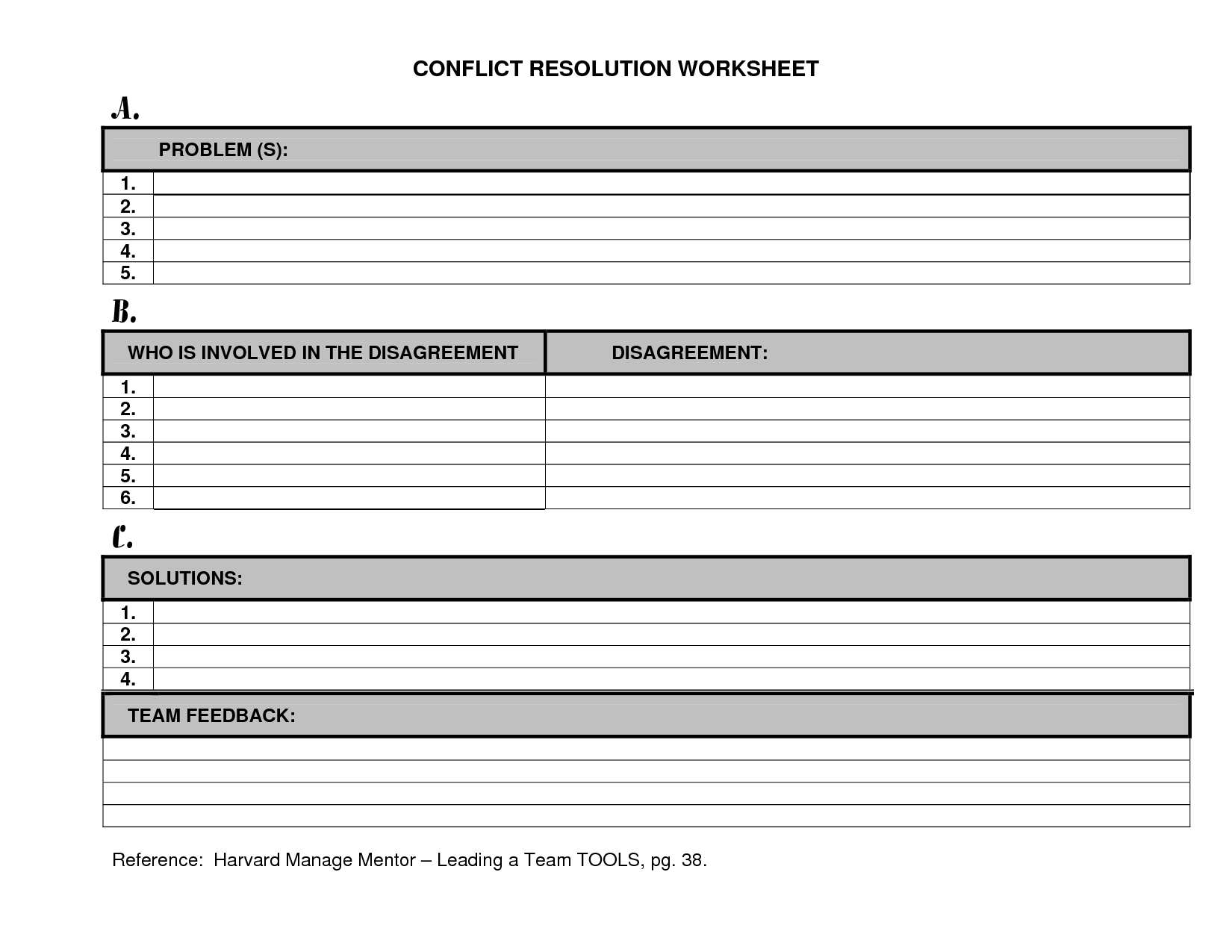 12 Best Images Of Conflict Resolution Skills Worksheets