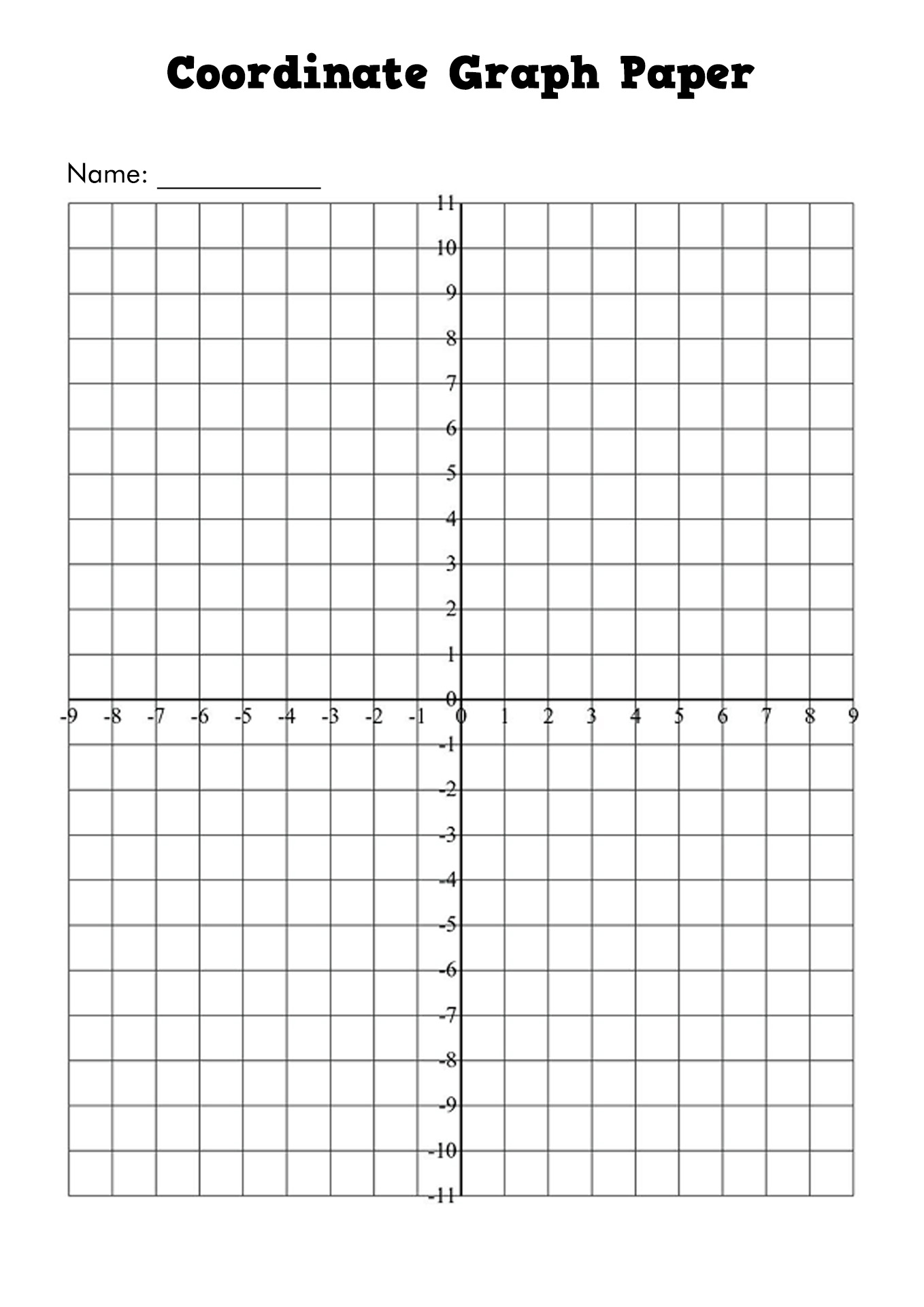 Coordinate Blank Worksheet