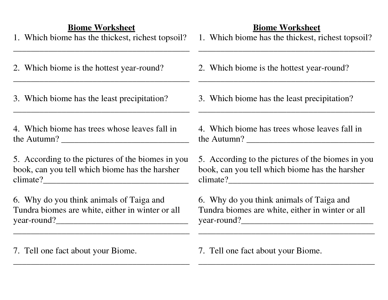 Biome Map Coloring Worksheet Answer Key