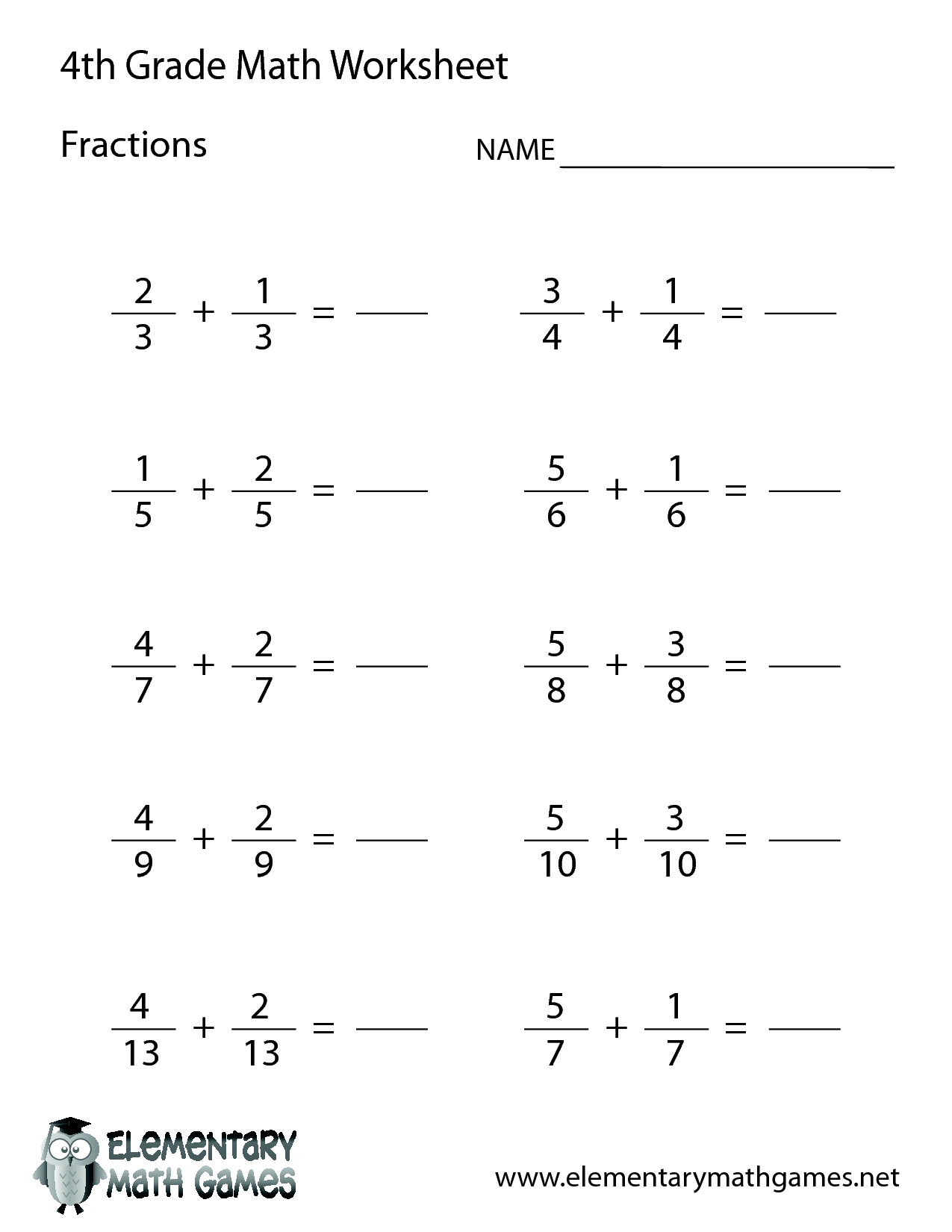 5 Best Images Of For 4th Grade Math Worksheets With Answer