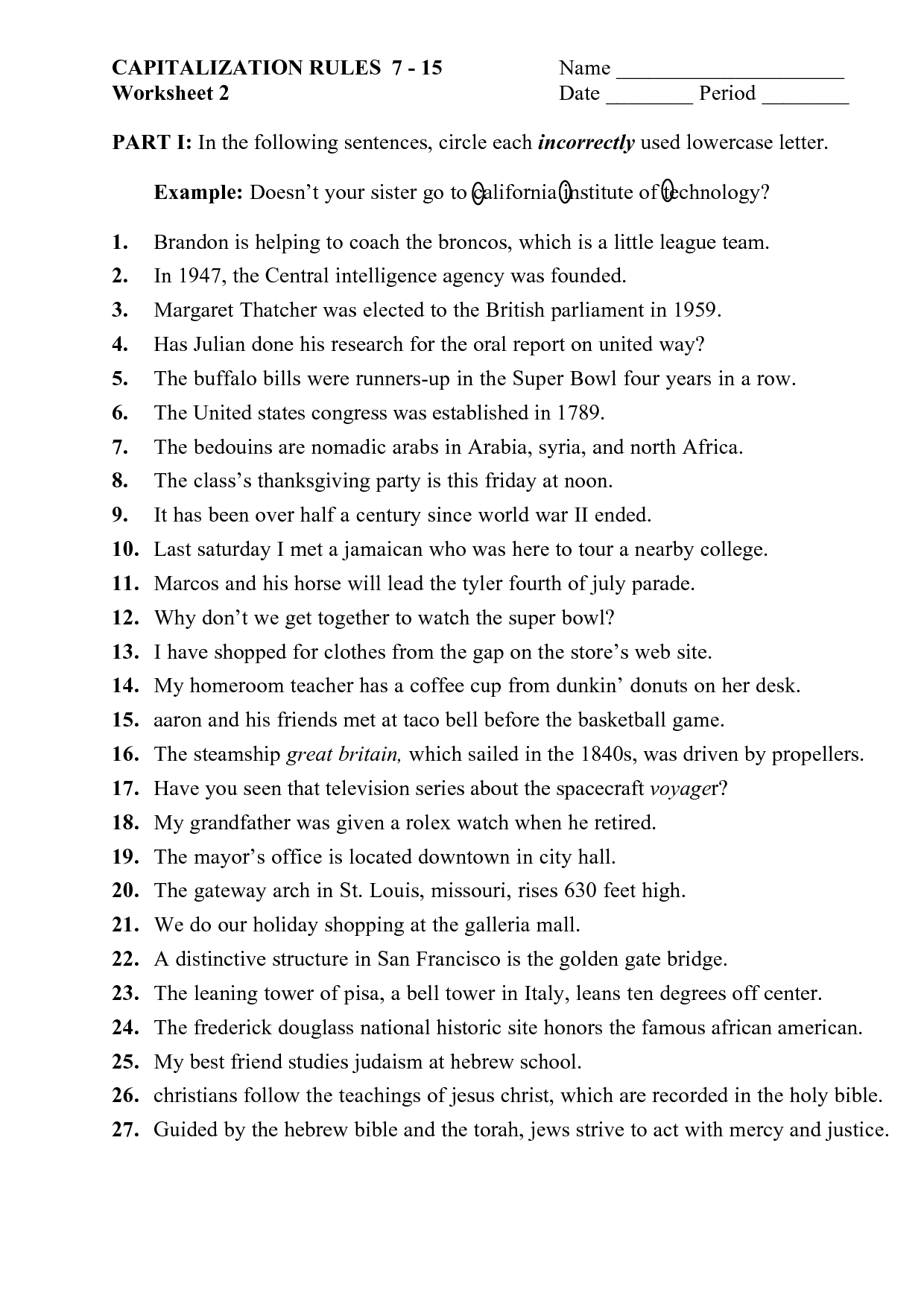 Punctuation Mark Worksheet For Kindergarten