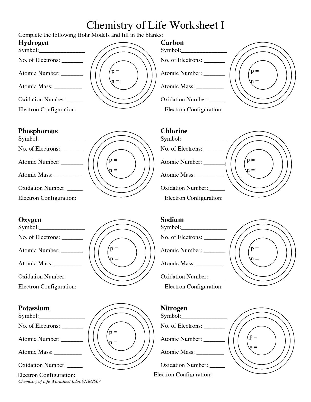 17 Best Images Of Bohr Model Practice Worksheet