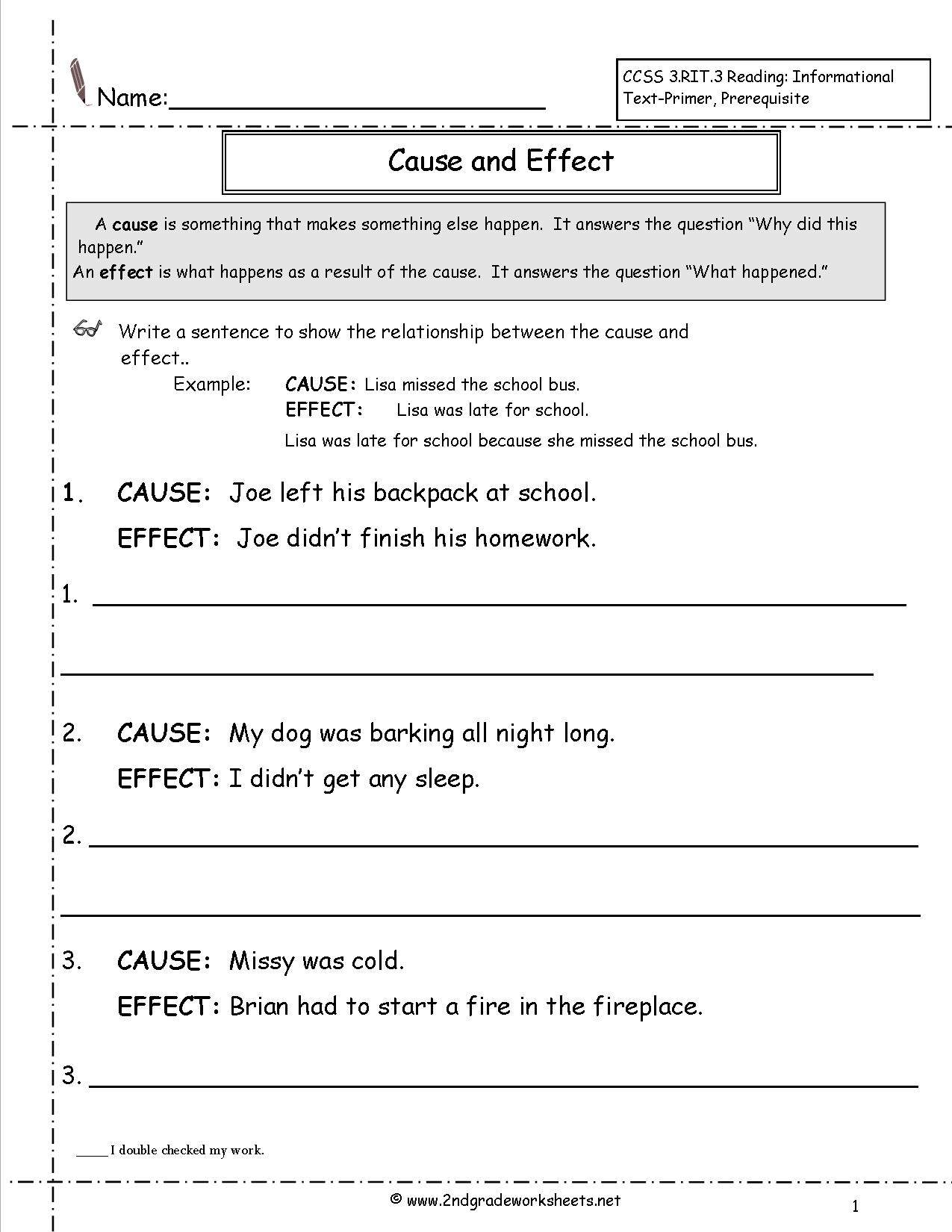 Cause And Effect Worksheets Free