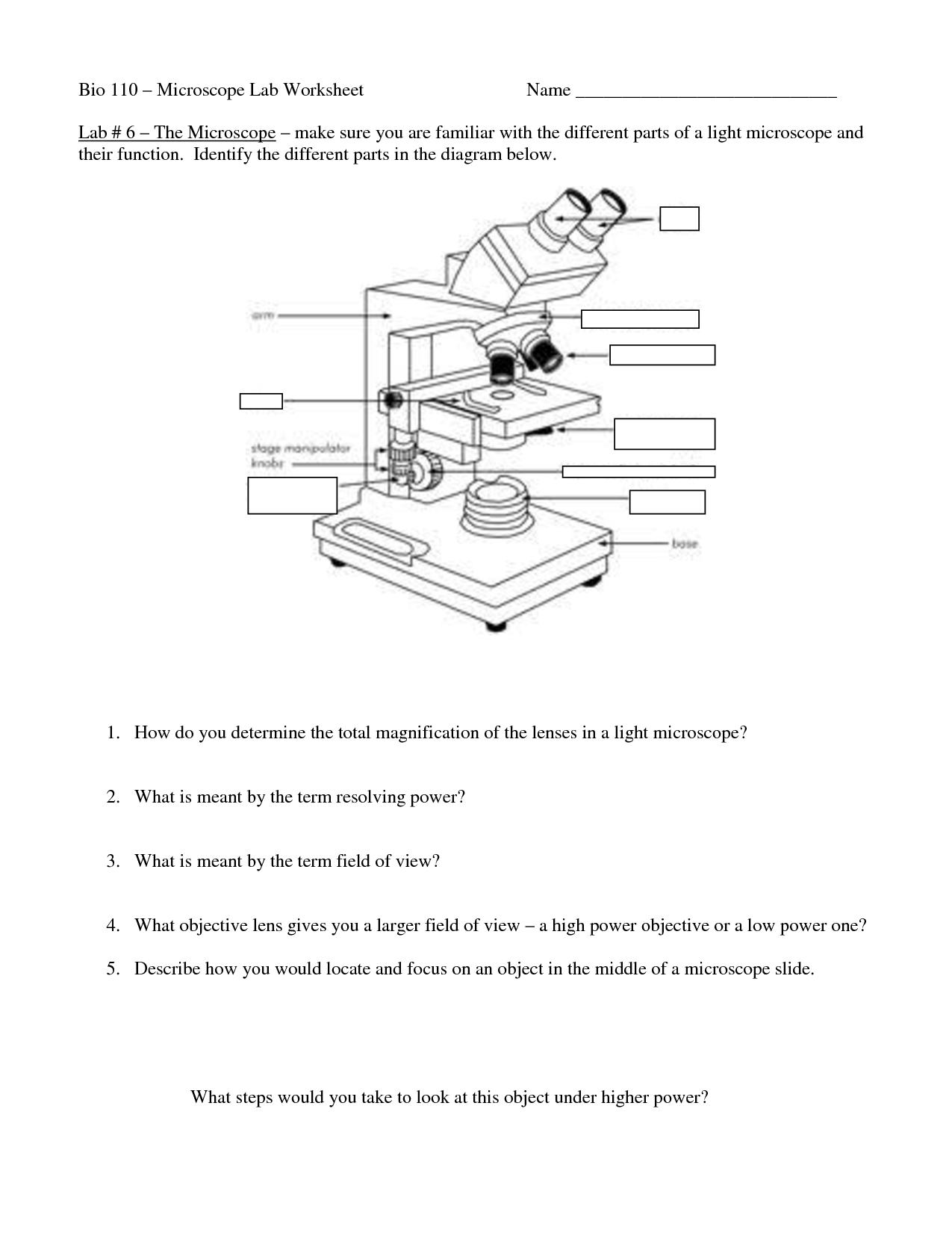 Slide Microscope Diagram Worksheet