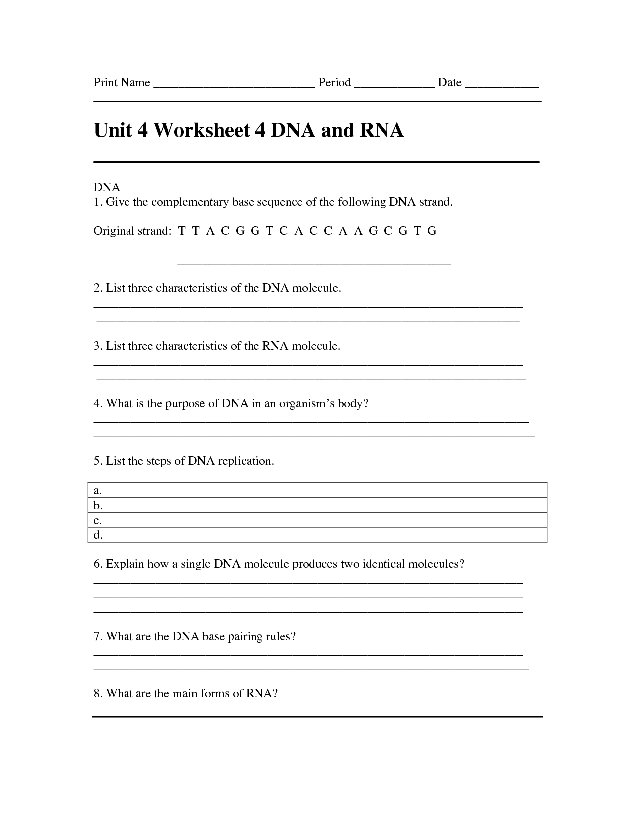 12 Best Images Of Dna The Molecule Of Heredity Worksheet Answer Key