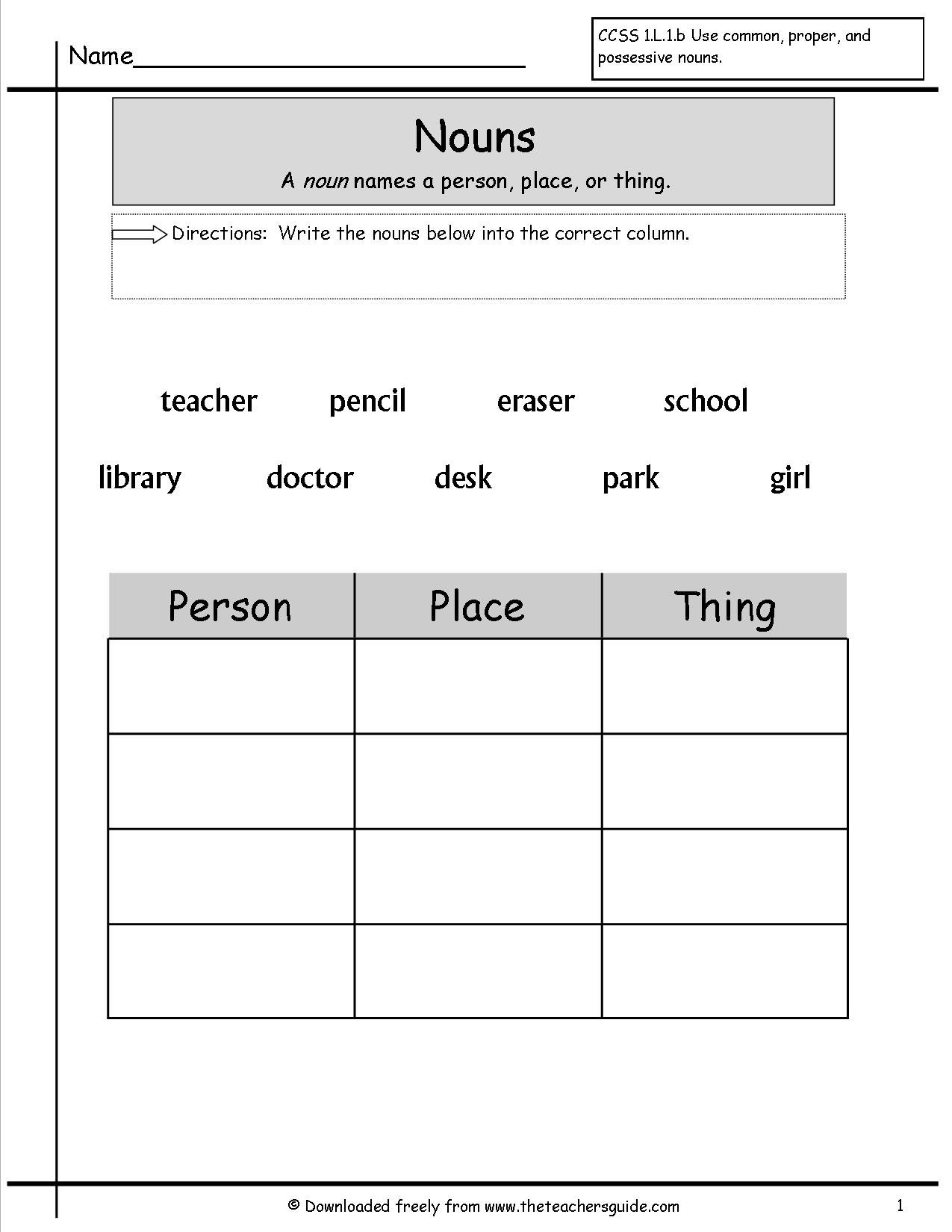 15 Best Images Of Nouns And Verbs Worksheets Sentences
