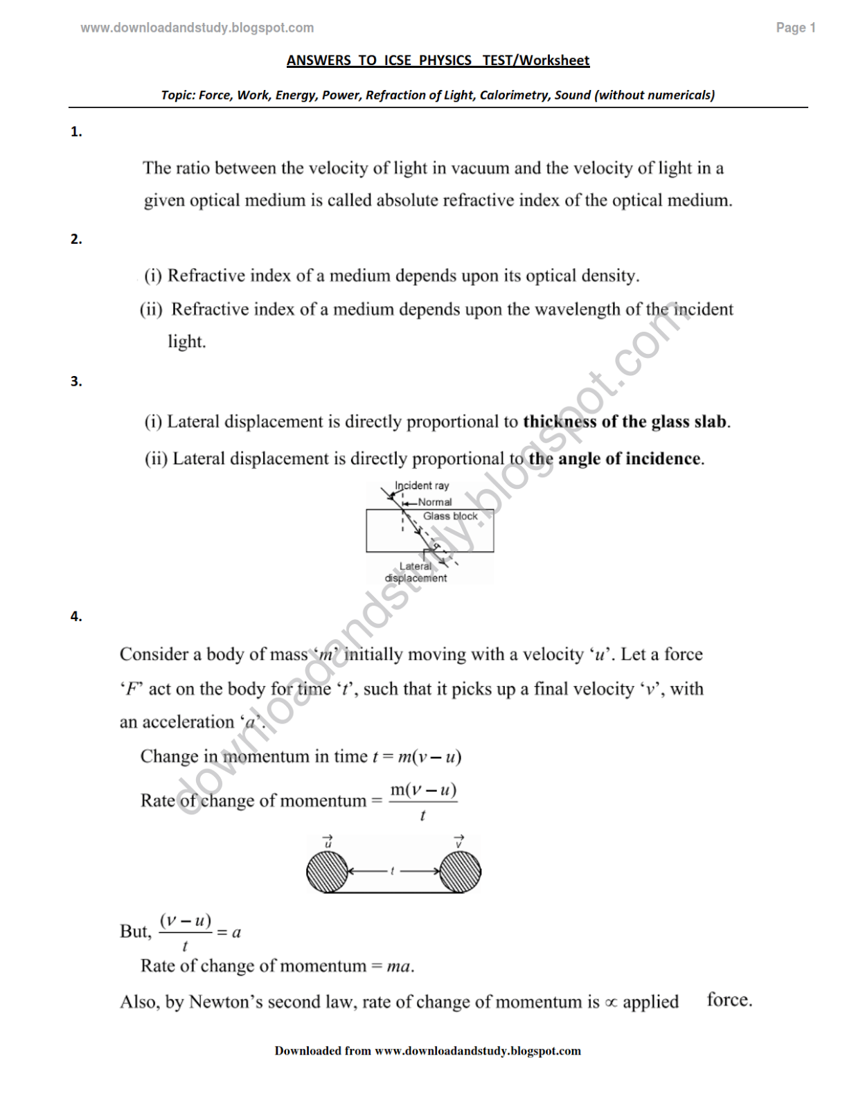 14 Best Images Of Light Refraction Worksheets 3rd Grade