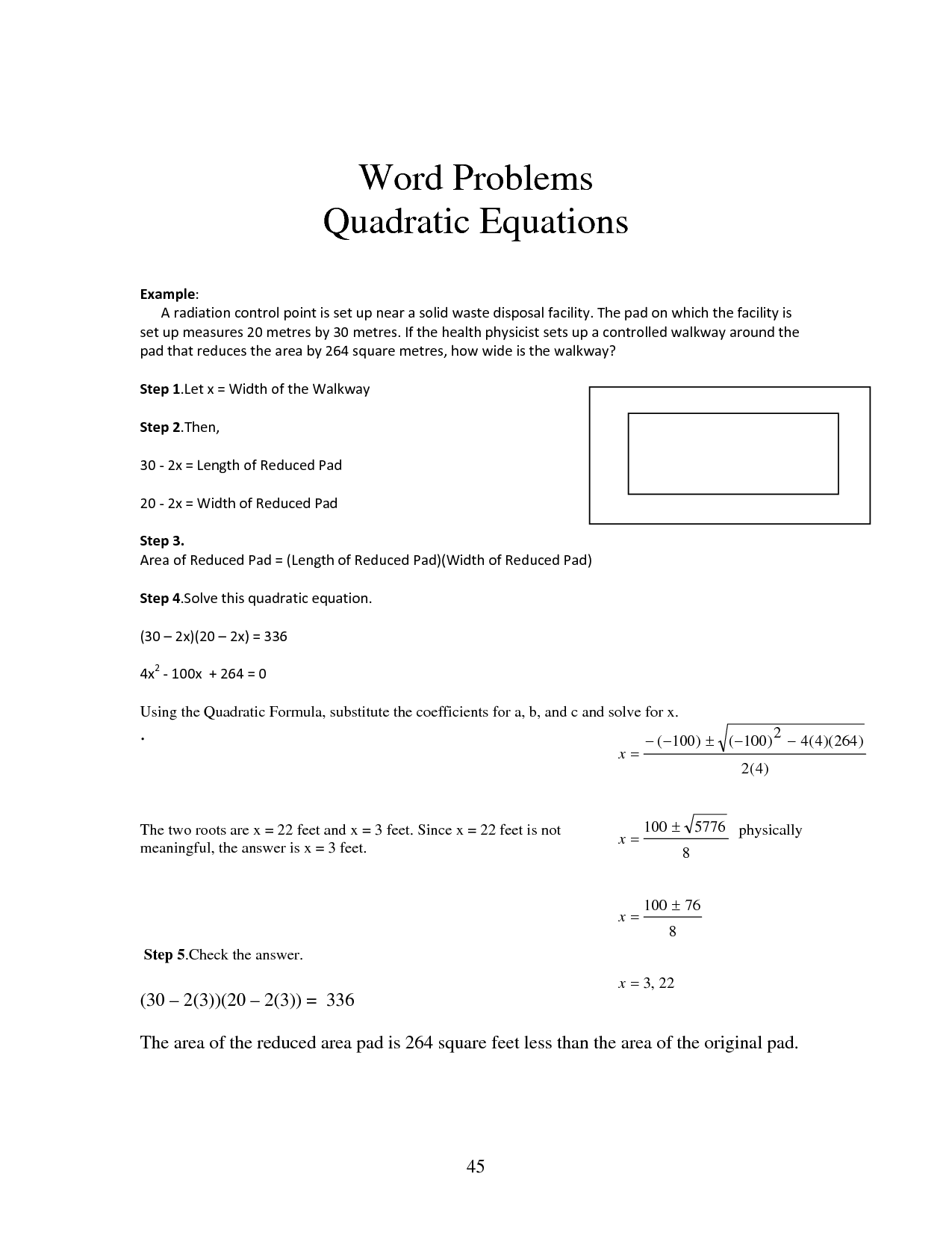 Quadratic Formula Printable Worksheet