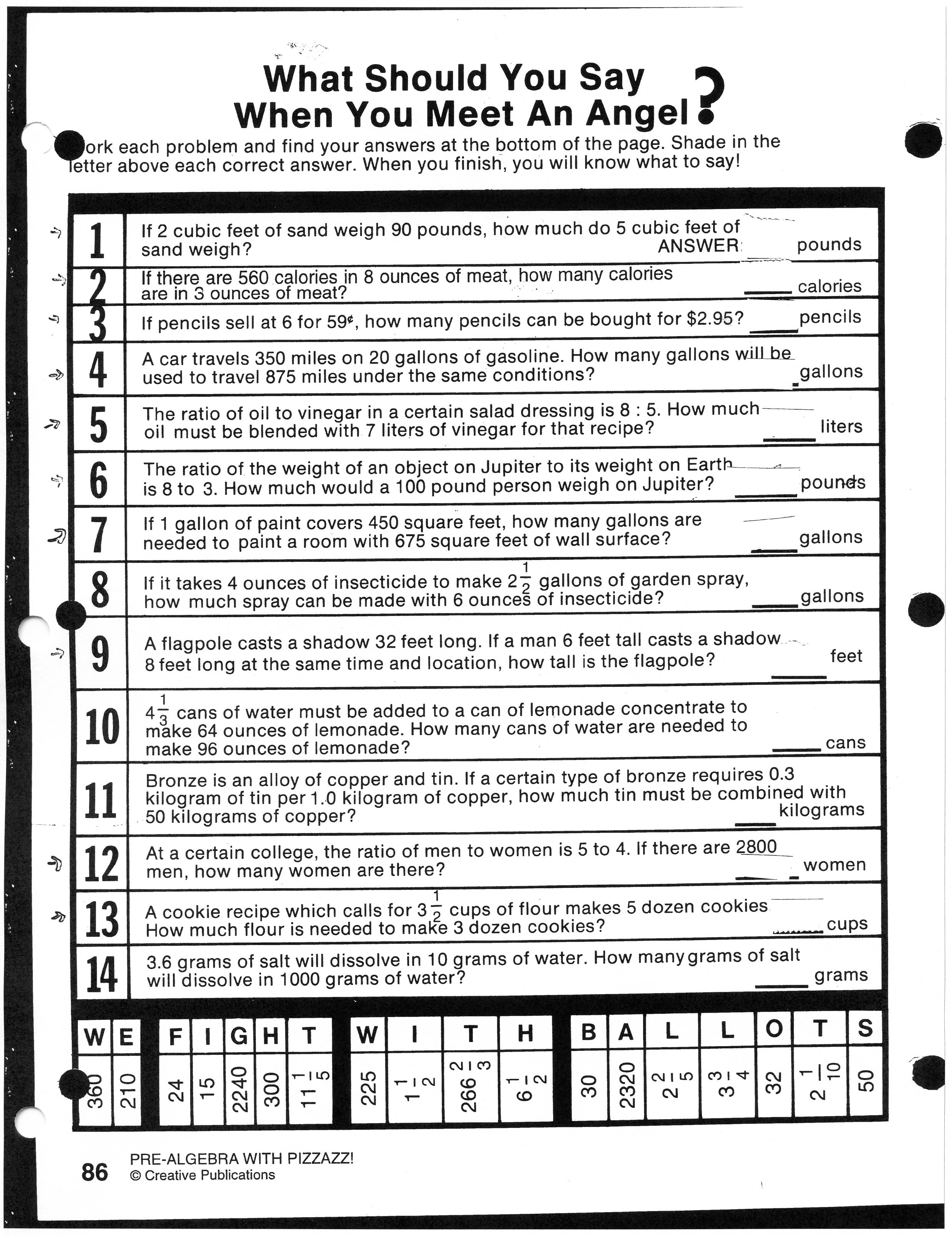Middle School Ratio Worksheet
