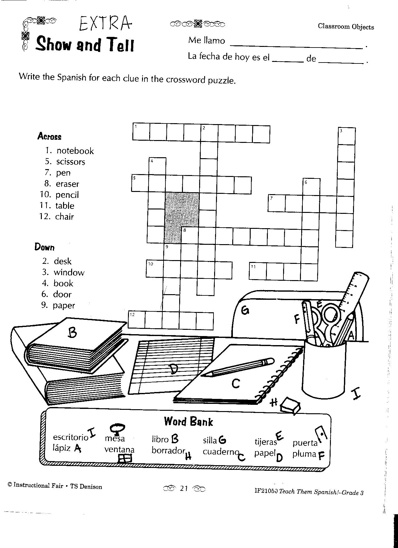 17 Best Images Of French Classroom Objects Worksheet
