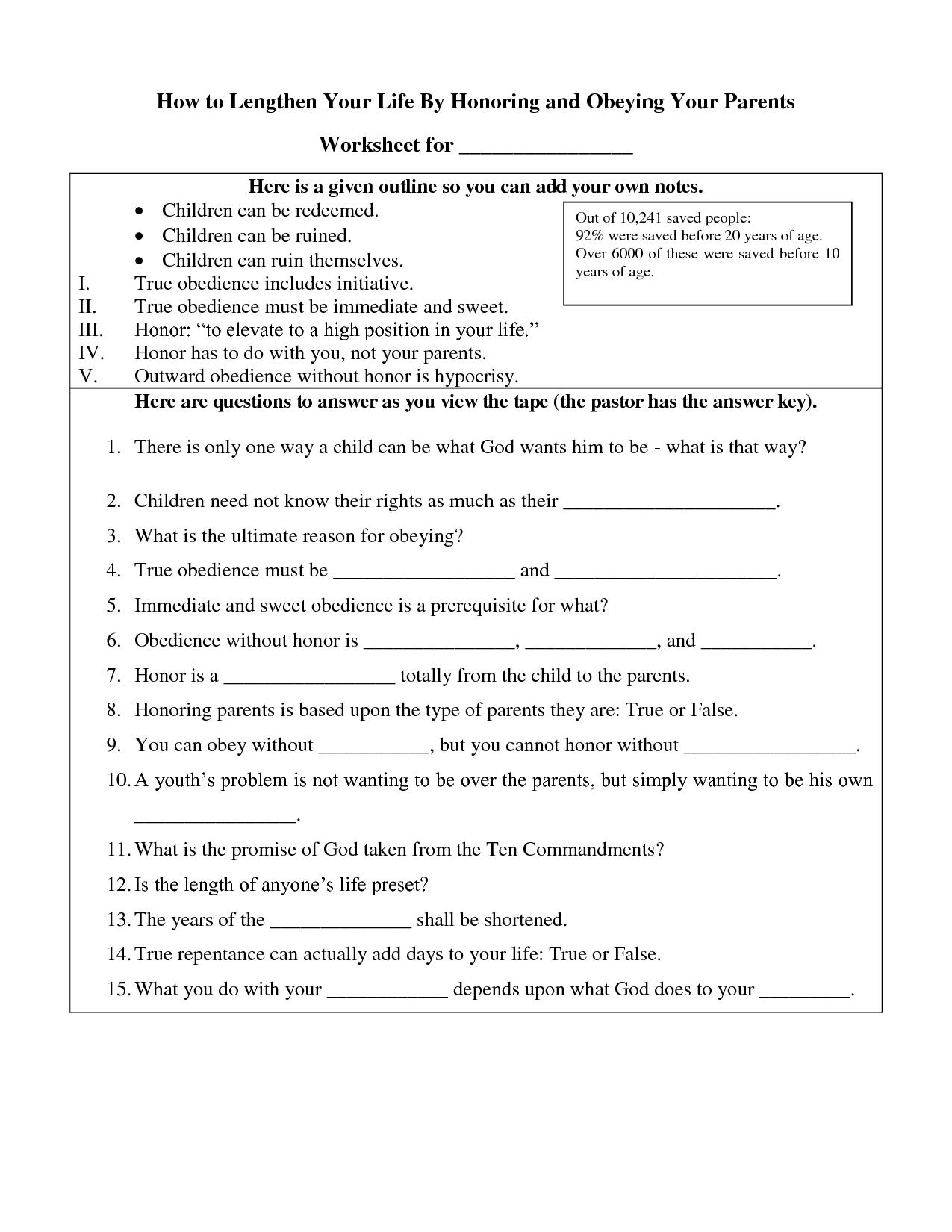 10 Commandments Worksheet High School