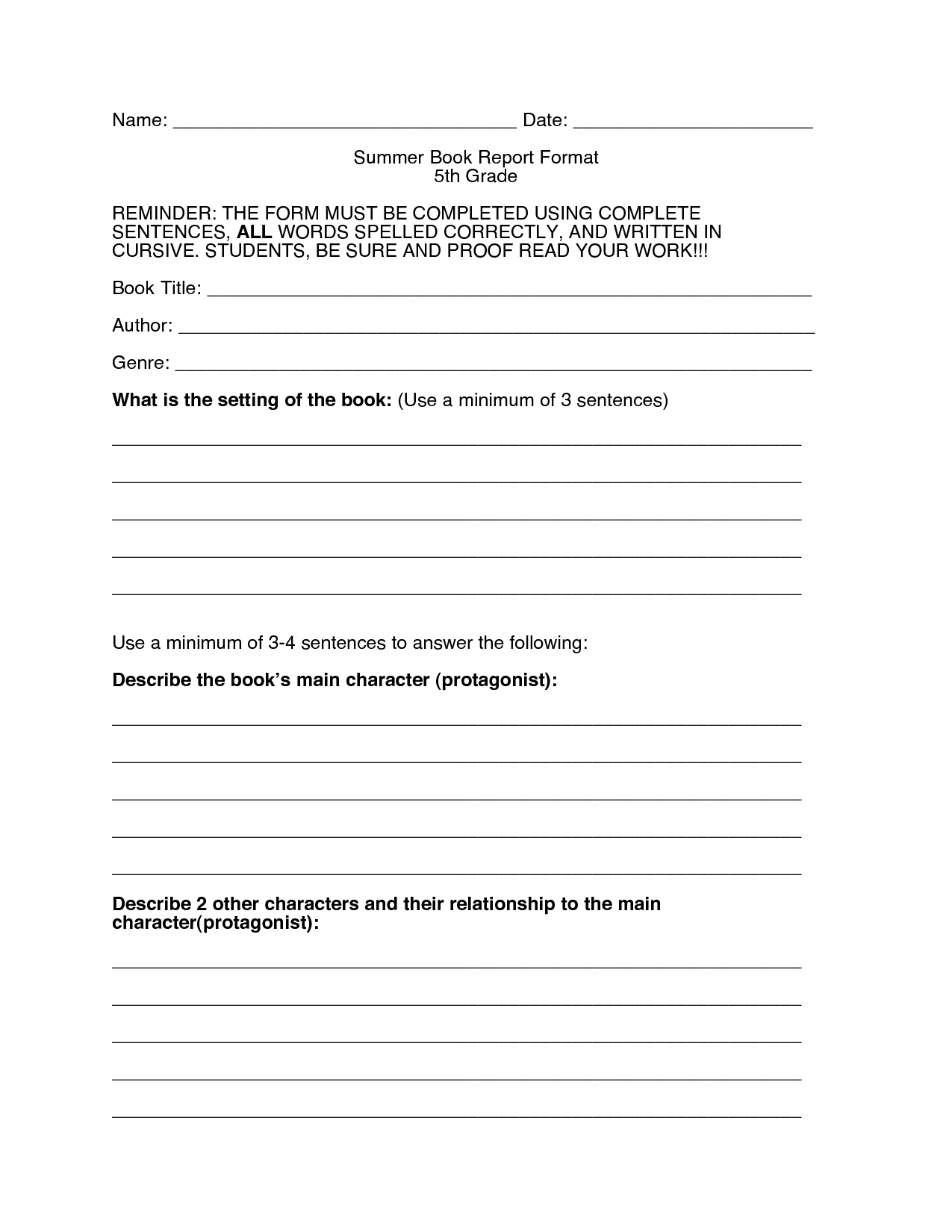 16 Best Images Of 5th Grade Book Report Worksheet