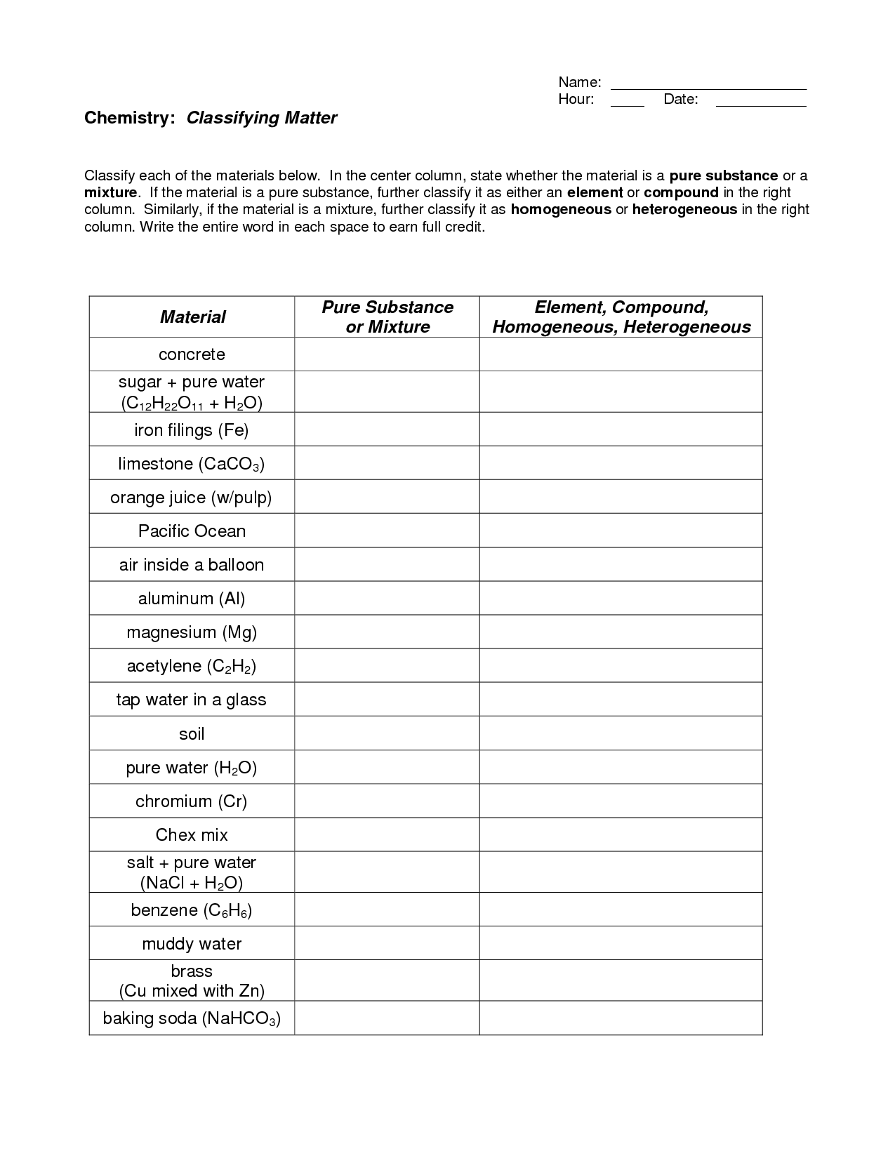 Chemistry 2 1 Properties Of Matter Worksheet Answers