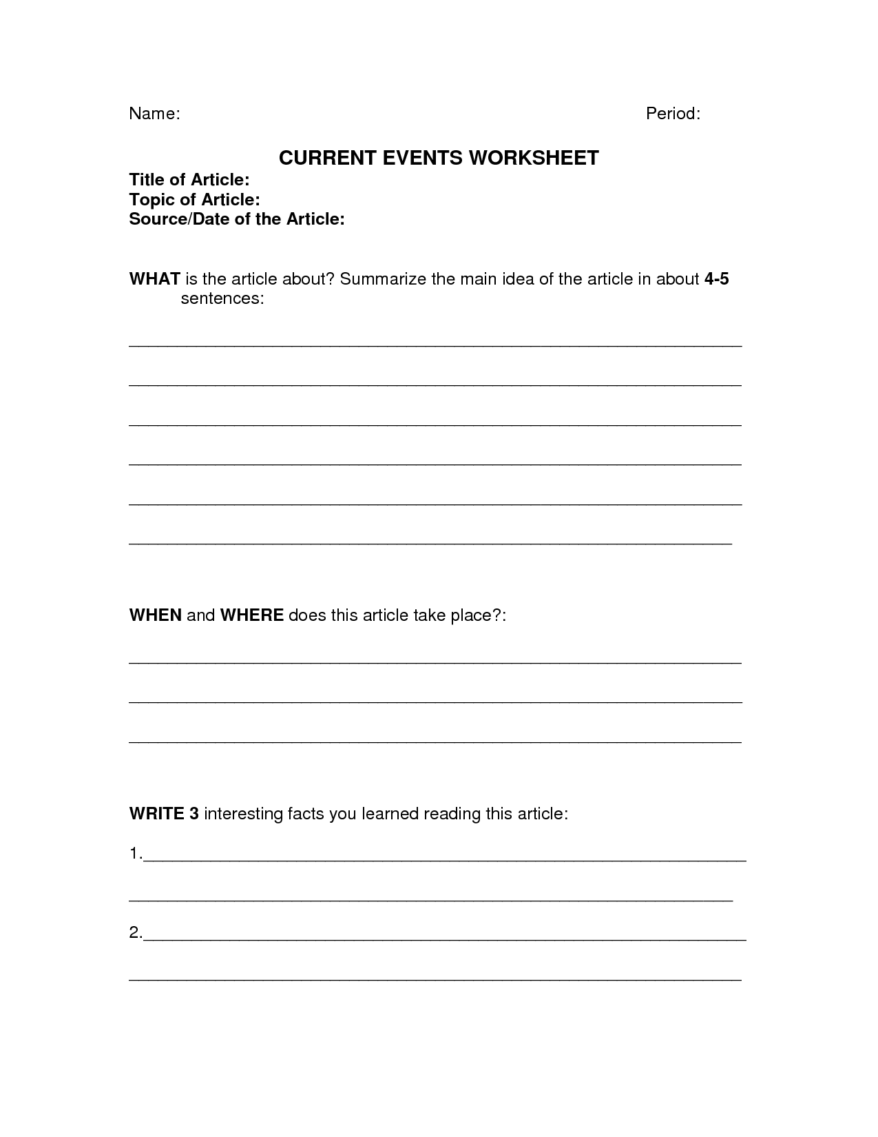 Current Event Worksheet High School