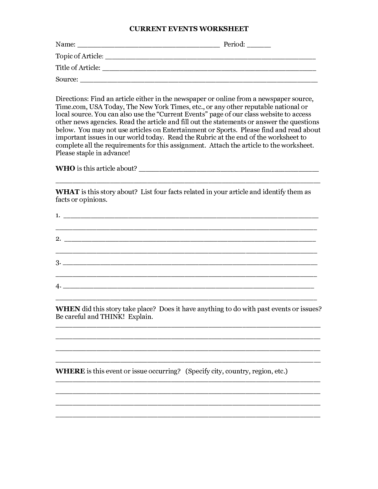 18 Best Images Of Current Events Worksheet Template