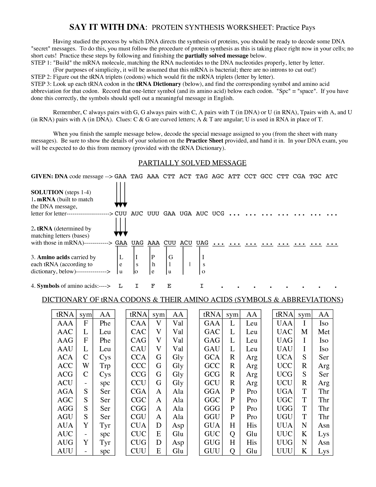 13 Best Images Of Decoding Dna Worksheet