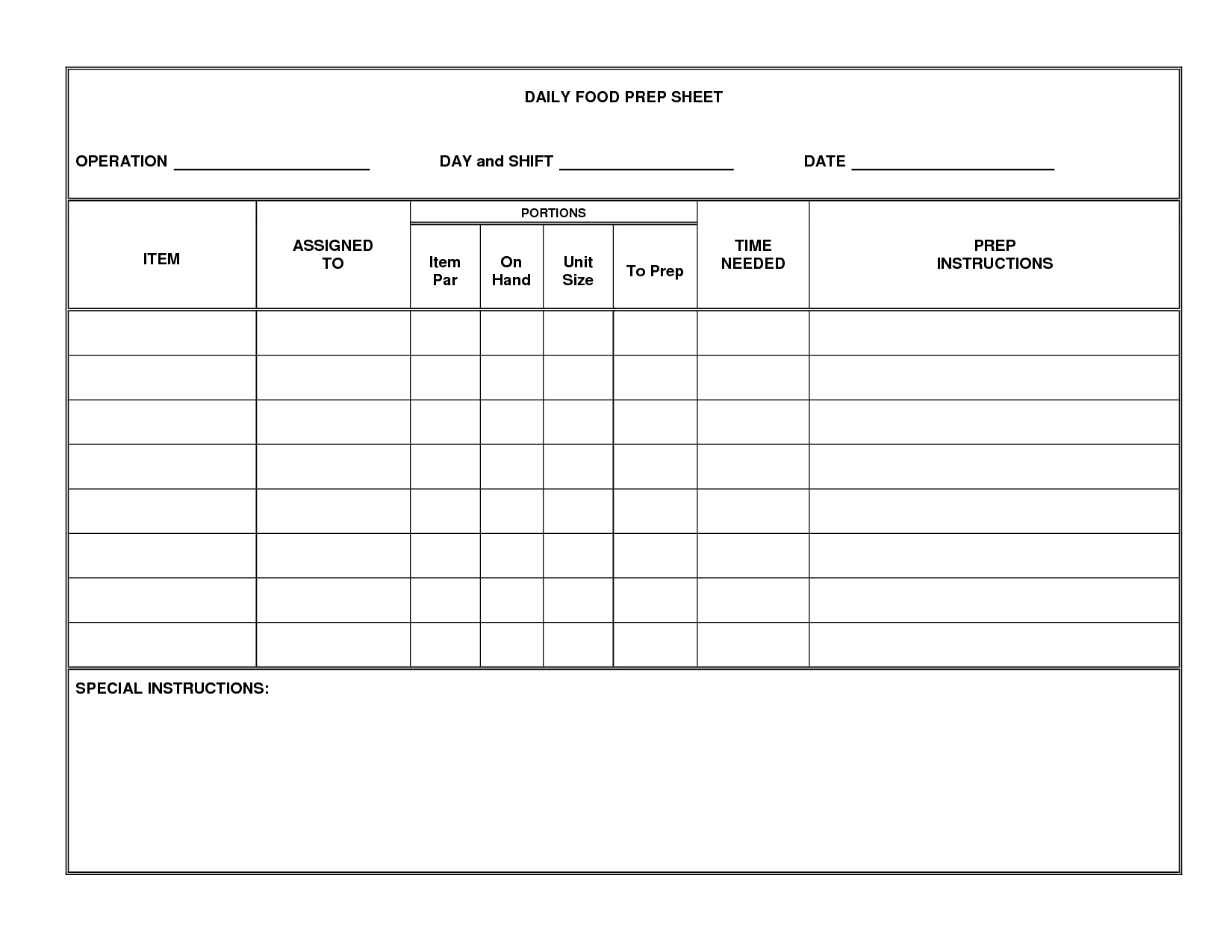 Daily Fluid Restriction Worksheet