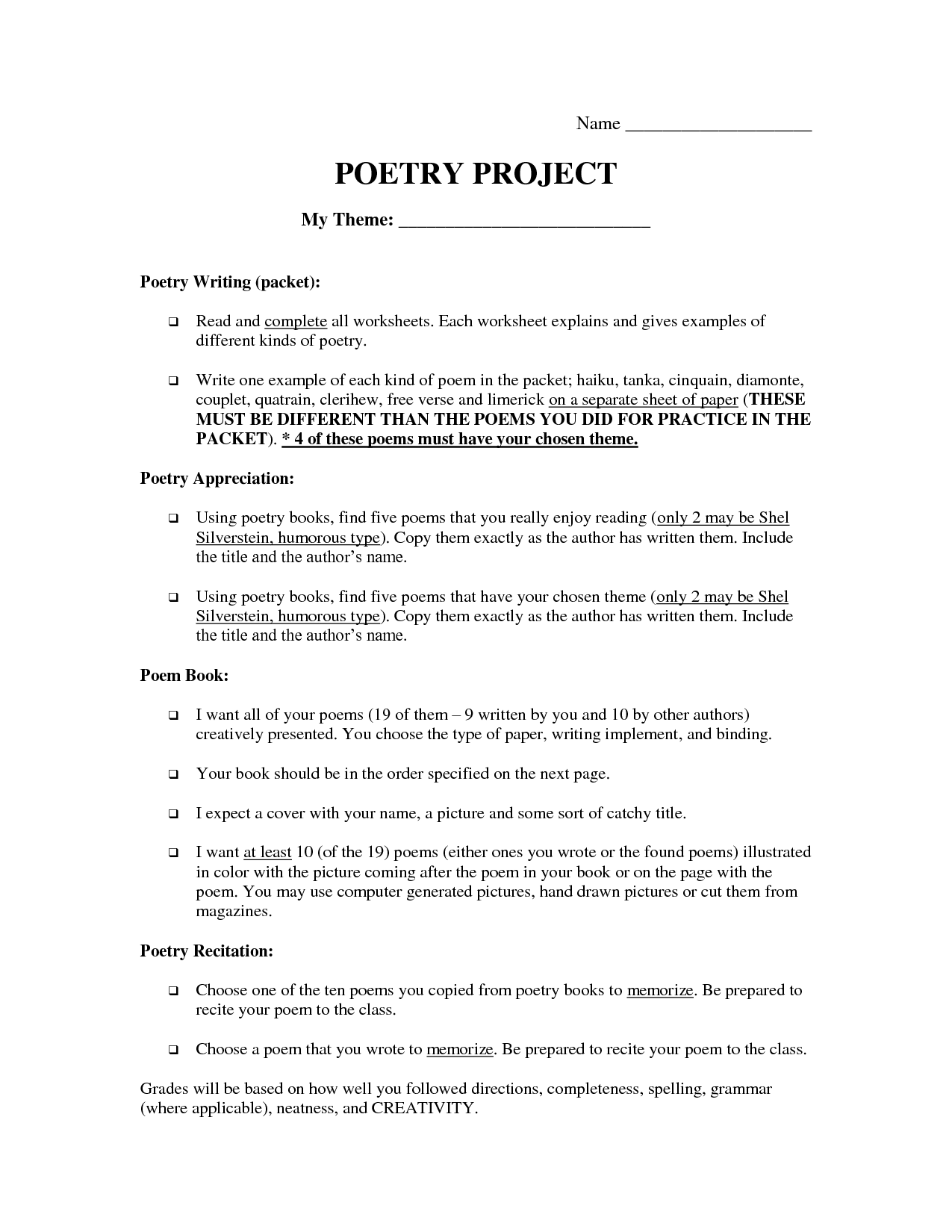 6 Best Images Of Free Cinquain Poetry Worksheet