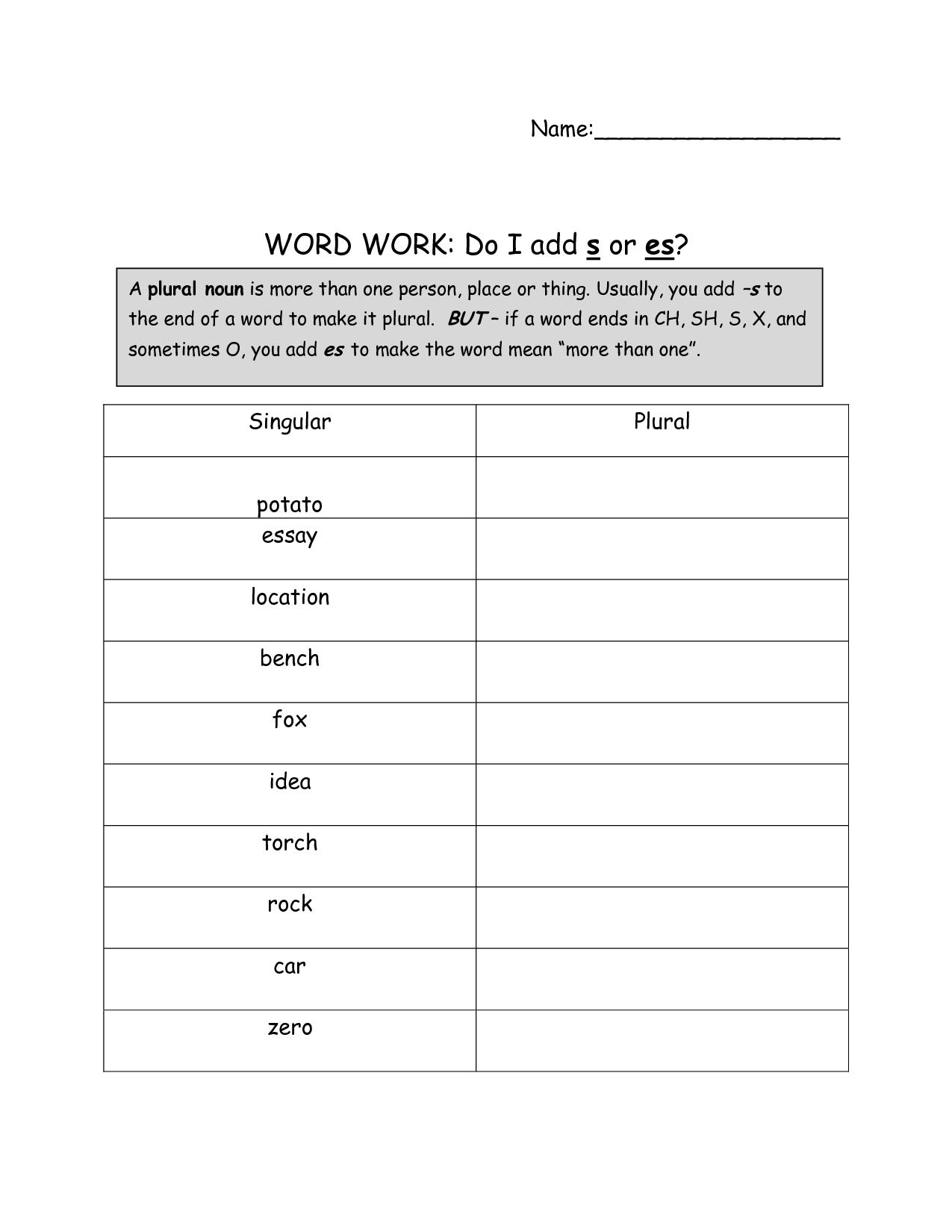 17 Best Images Of Worksheets Plural Nouns S Es