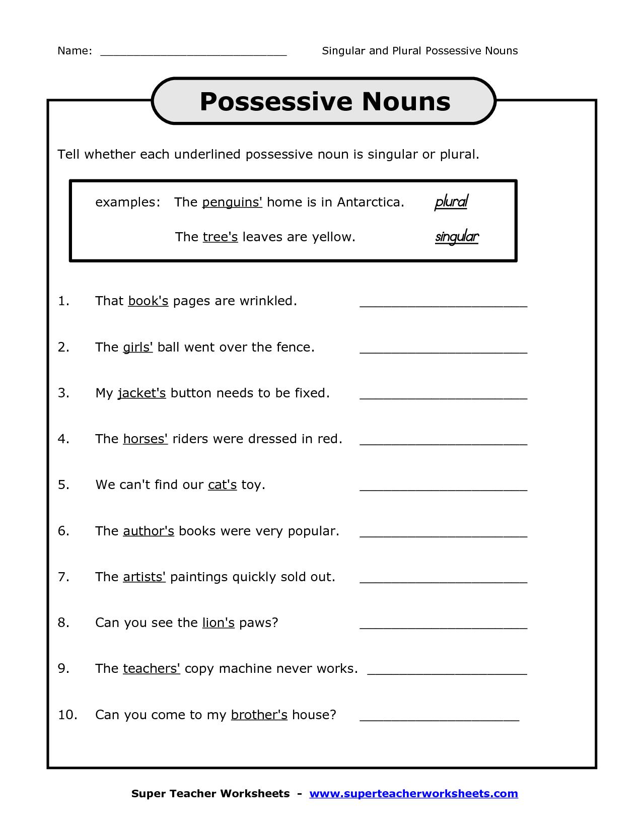 Possessive Nouns Worksheet For 3rd Grade
