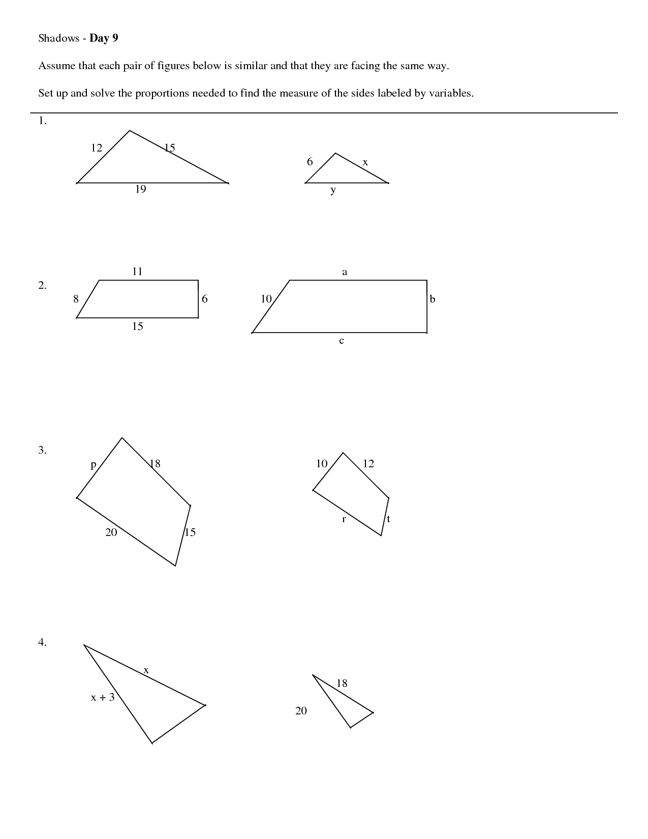 11 Best Images Of Similar Triangles Worksheet Middle