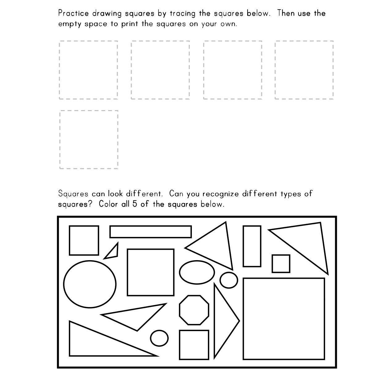 8 Best Images Of Square Shape Worksheets For Kindergarten