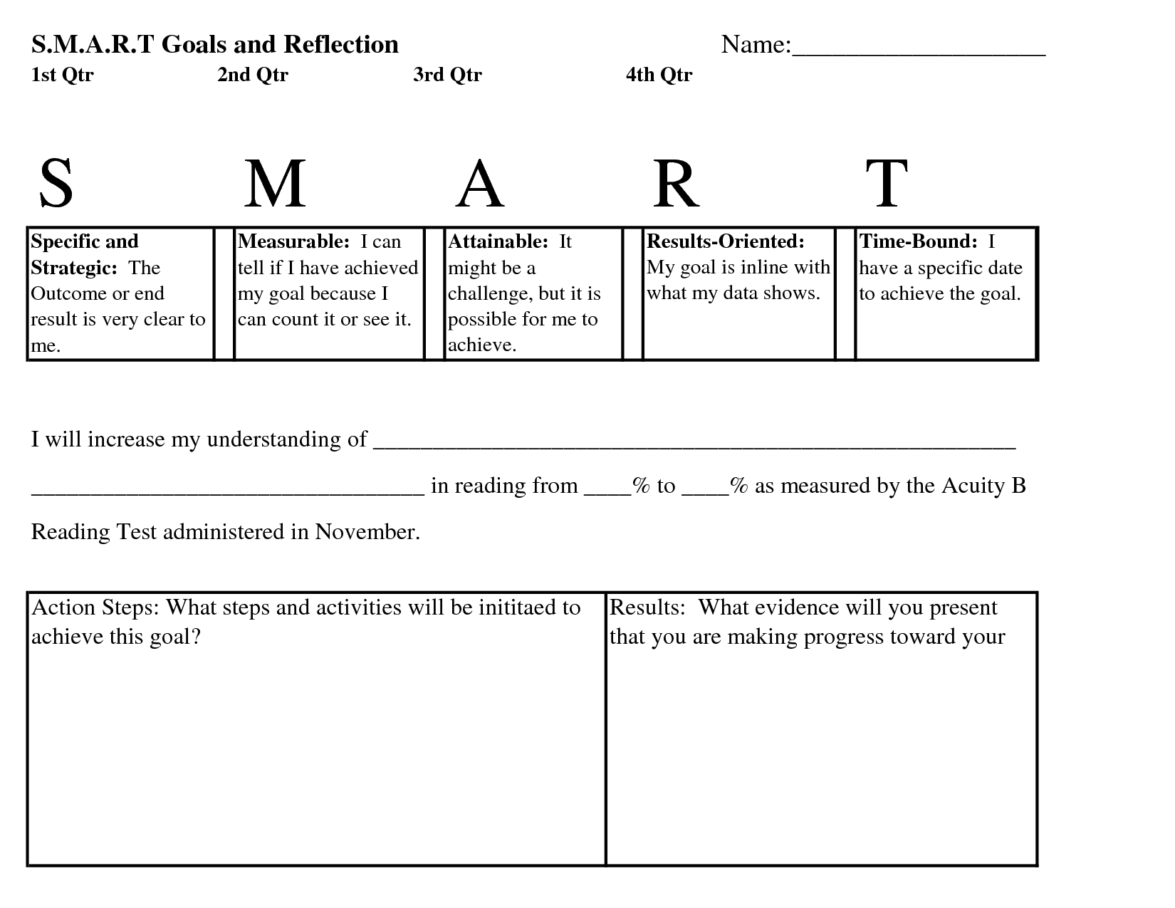 6 Best Images Of Smart Goals Worksheet For Elementary Students